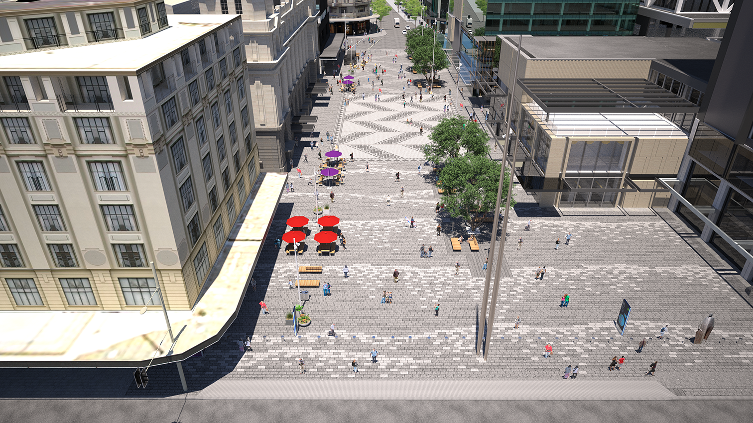An elevated view looking south towards the city. A large art work/cultural marker is proposed at the northern end of the plaza.