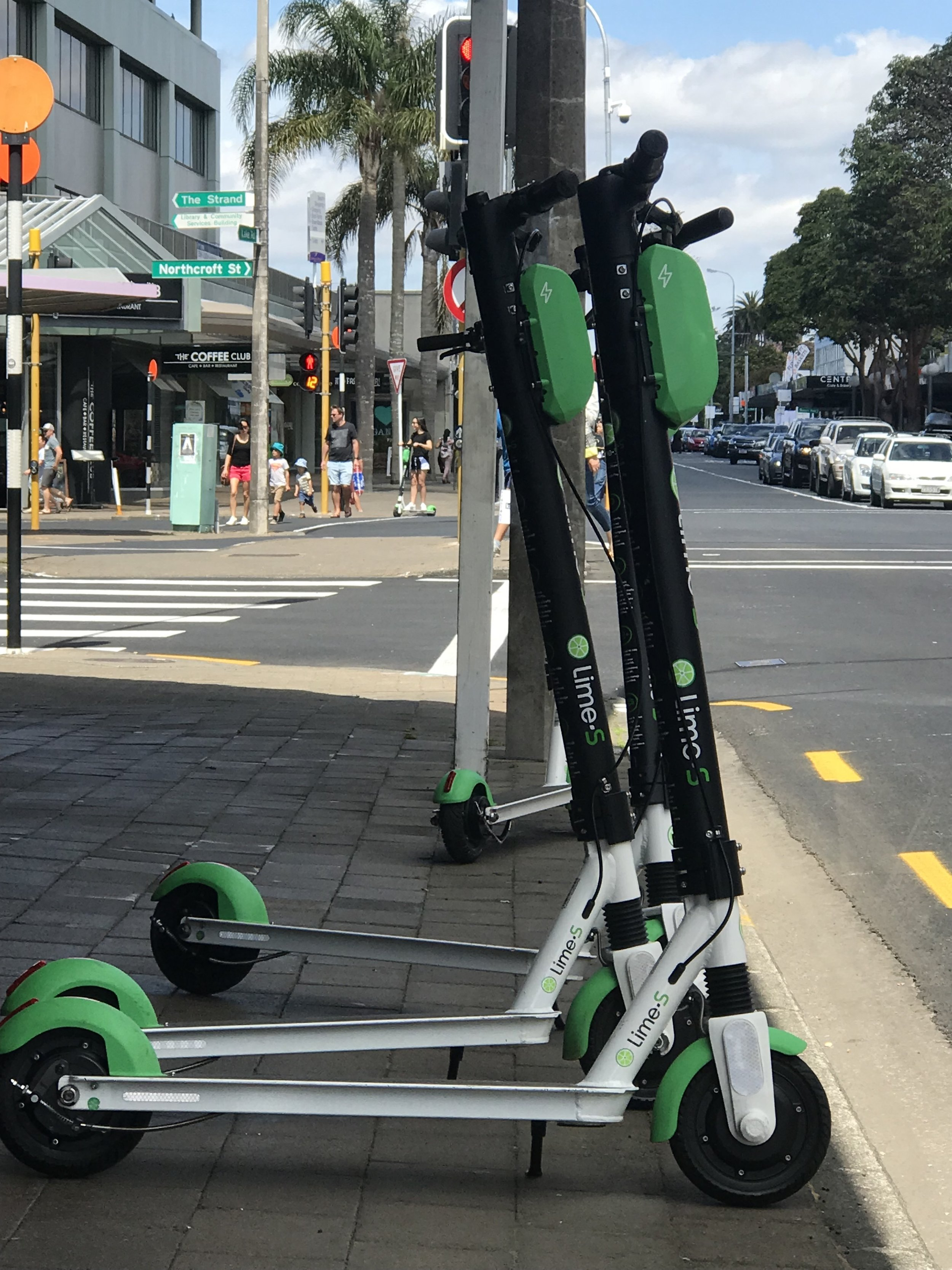 The Lime scooters in Takapuna, Auckland over Labour weekend, just days after the scheme started in the city.
