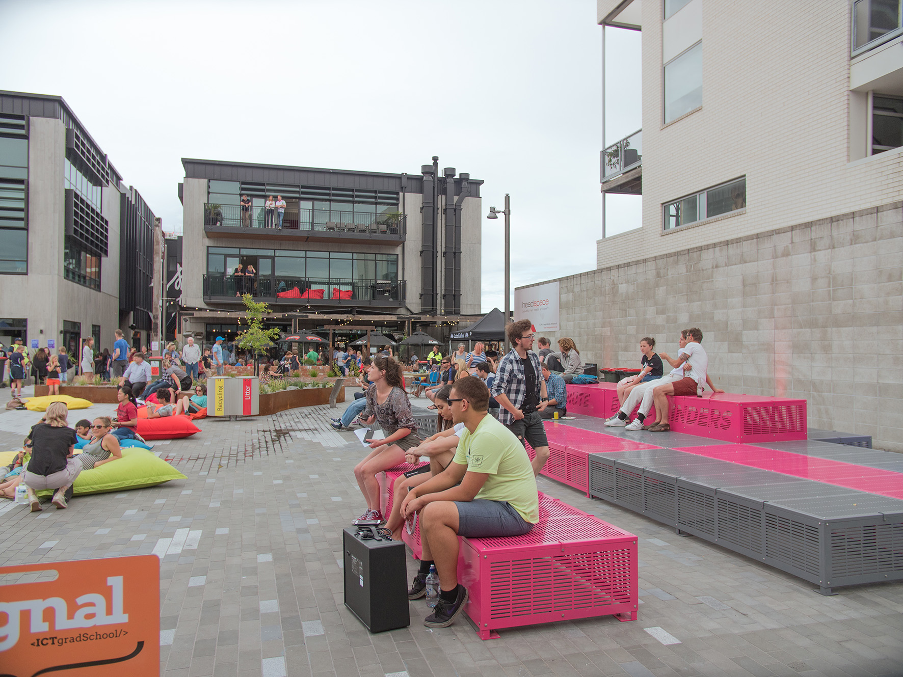 South Frame's Evolution Square is part of a network of laneways, shared zones, landscaped areas, integrated artworks, cultural narratives and event ready spaces.