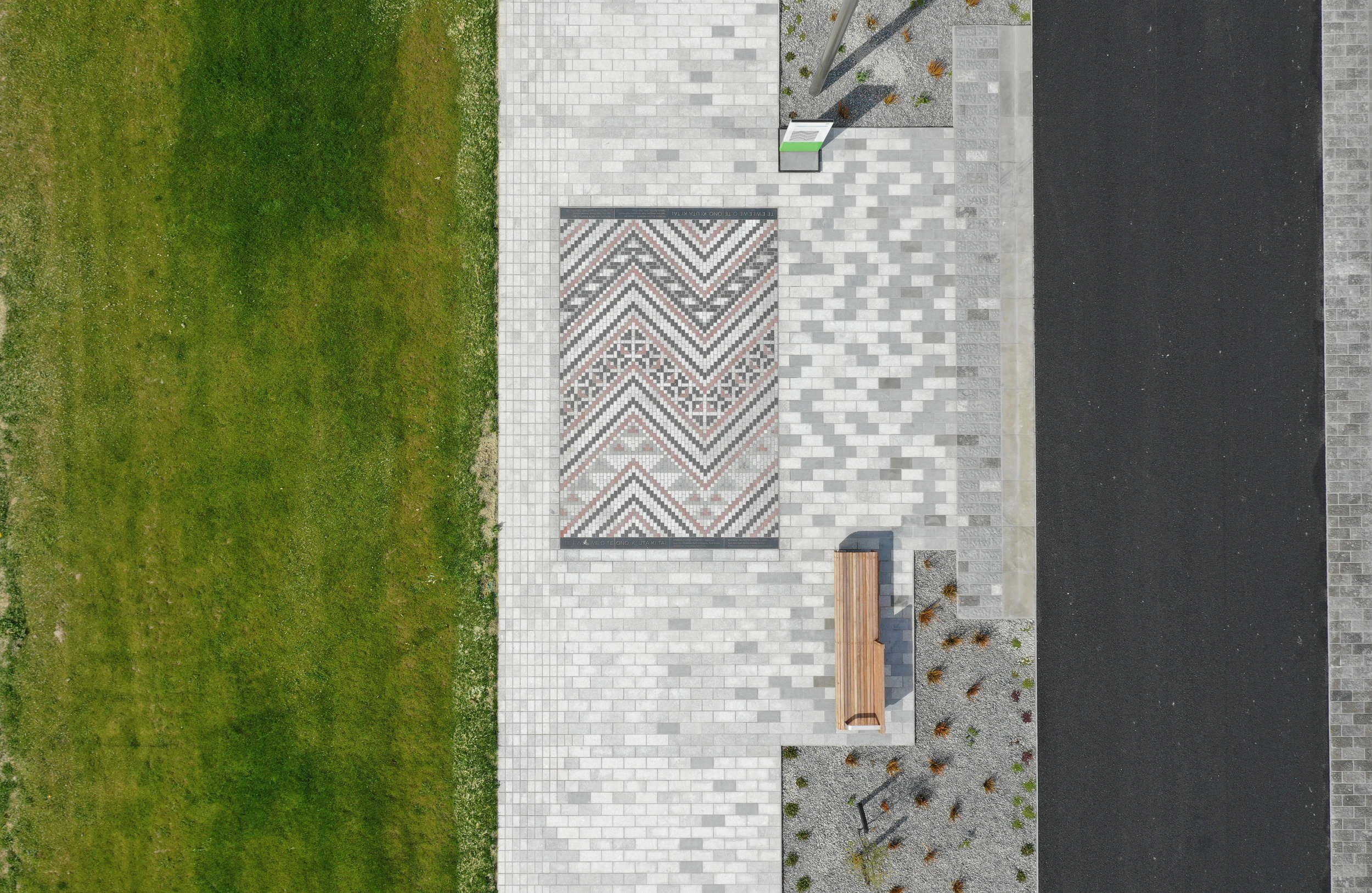 Avon River Promenade - 3km of shared zone combining landscape and integrated artworks - including this example of Ngā Whāriki Manaaki - Woven Mats of Welcome within promenade paving.