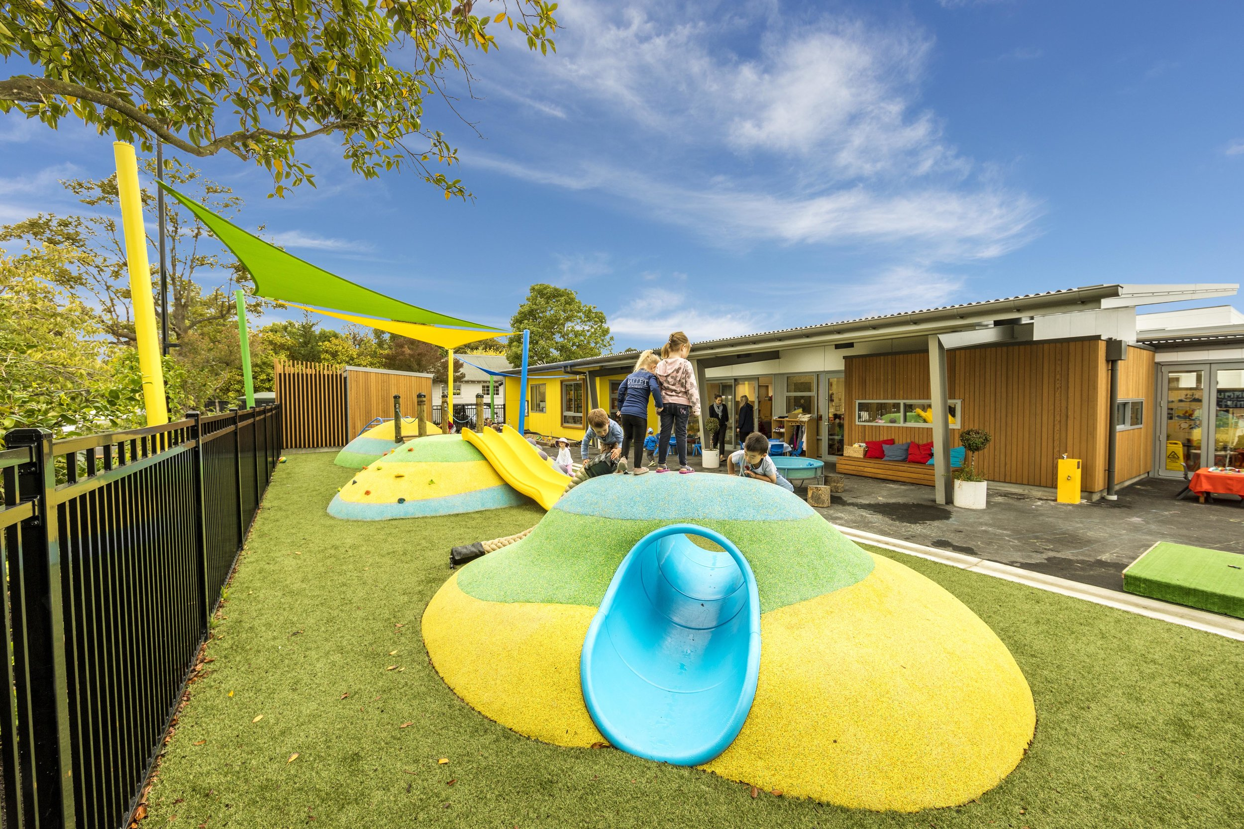 When developing the new play area for St Andrews' Stewart Junior Centre Jasmax was asked to ensure it was unique, innovative, and maximises play value.