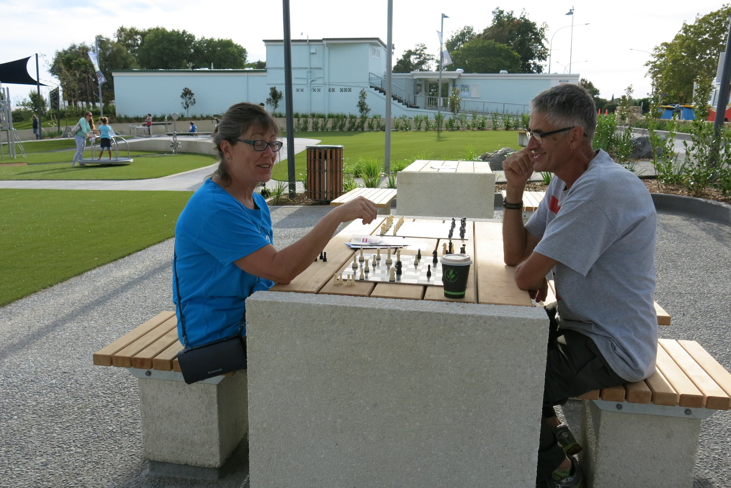 As well as the usual children's play equipment the Village Green includes ares for chess and table tennis.