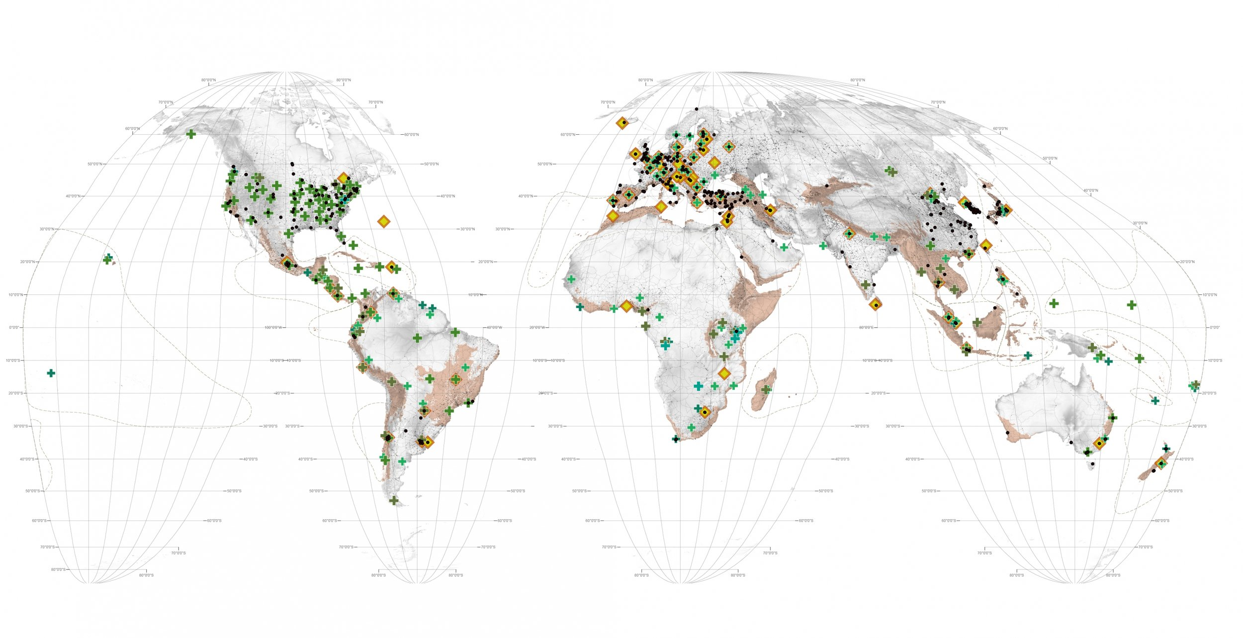 Map 2 - 'Knowledge' shows the global location of schools of landscape architecture.
