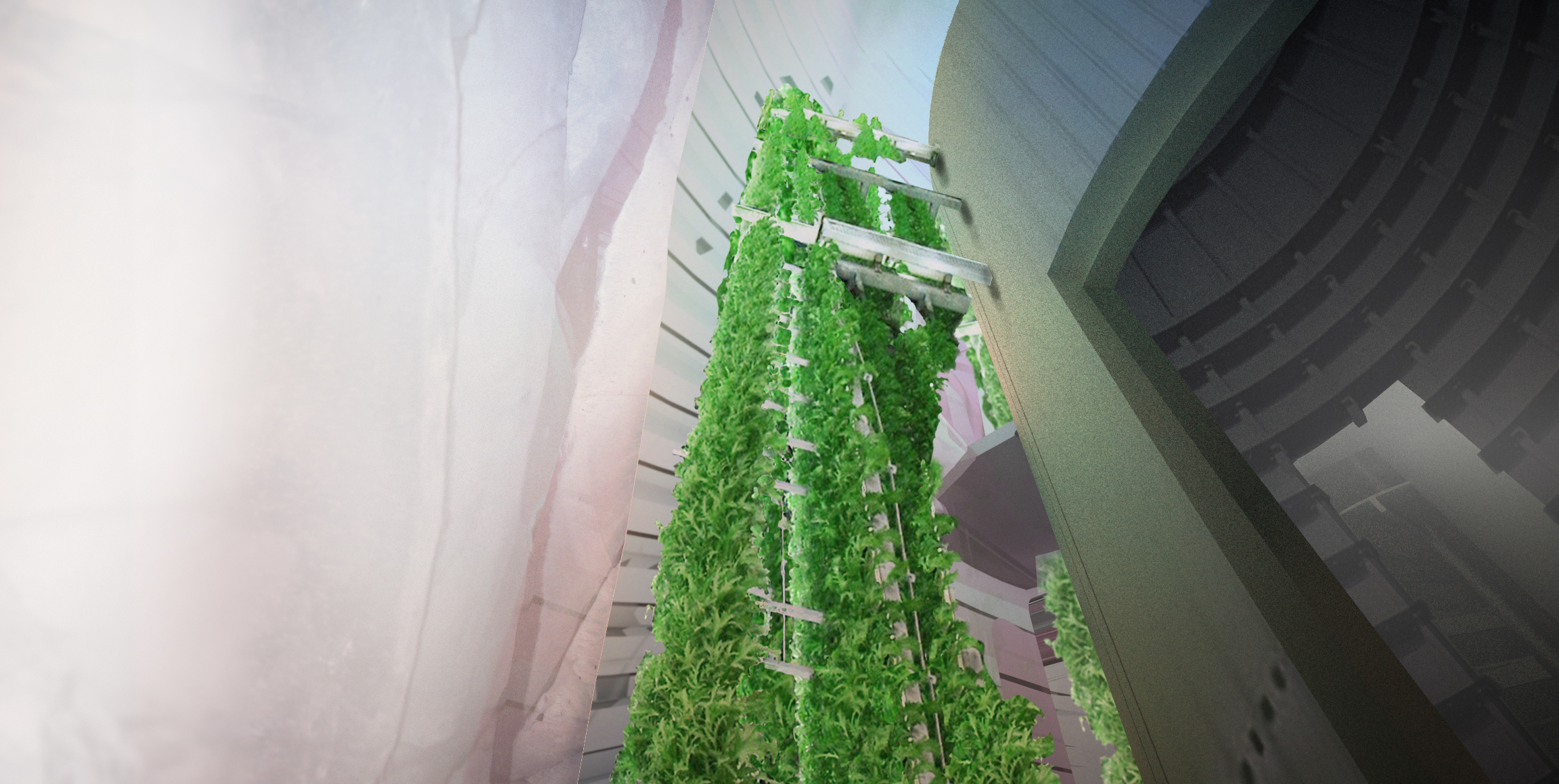 Vertically growing hydroponic gardens serve as the recreational 'parks' within the habitat, disrupting the alien monotony of Mars' landscape while also supplementing the crew's food and oxygen.