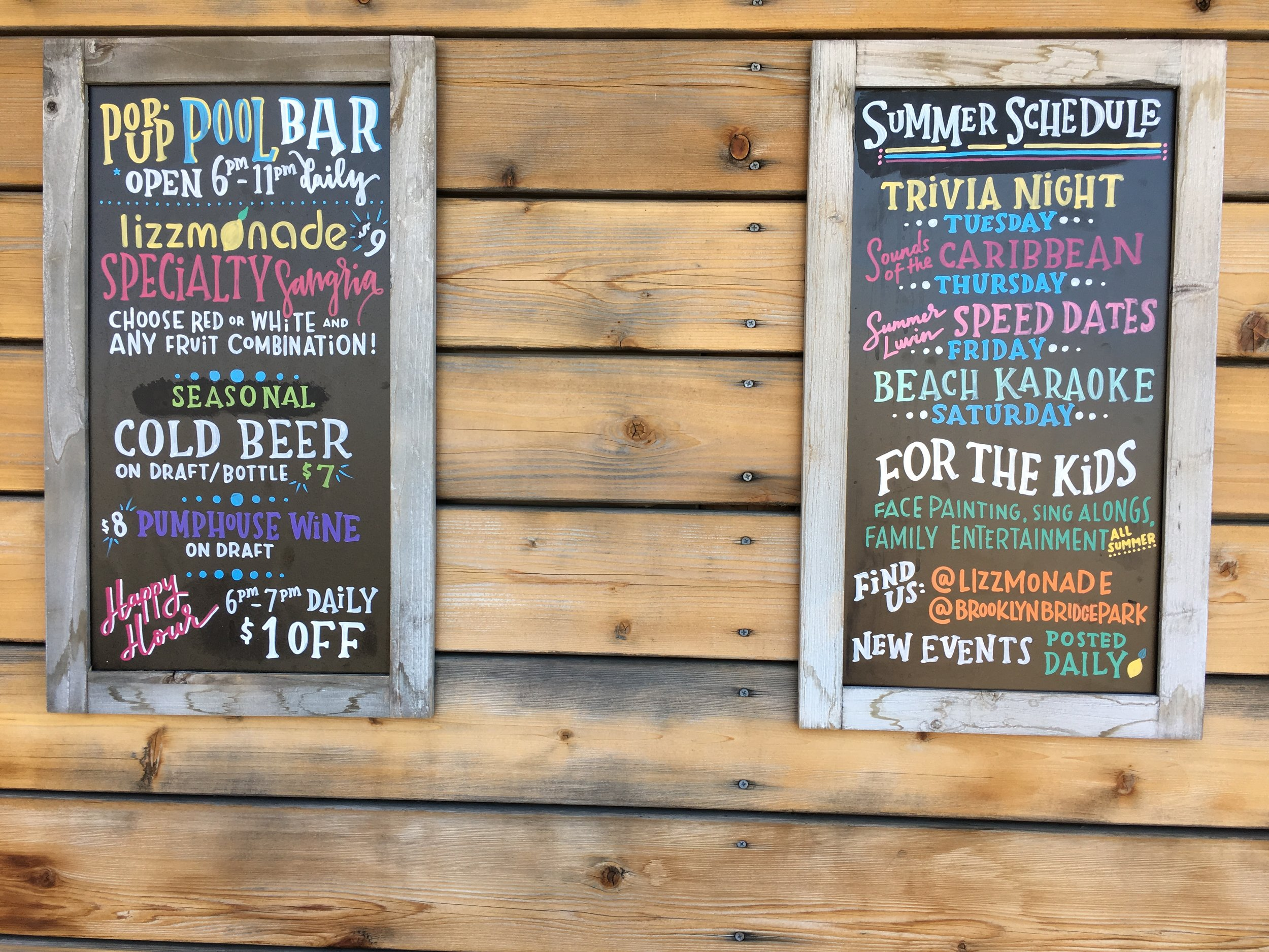 Brooklyn Bridge Park Pop up Bar including speed dating.