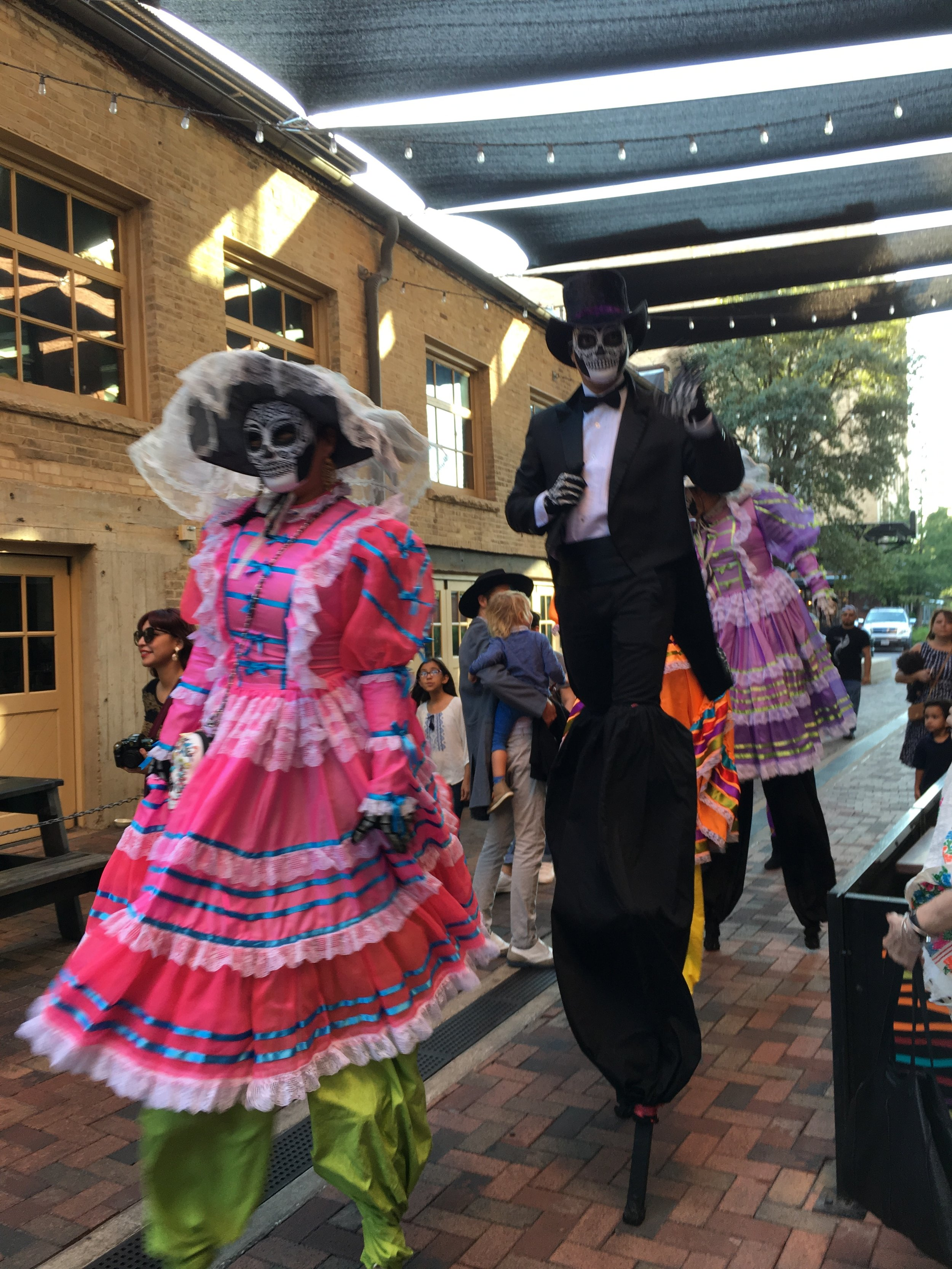 The Pearl Brewery open space celebrating Day of the Dead in November.