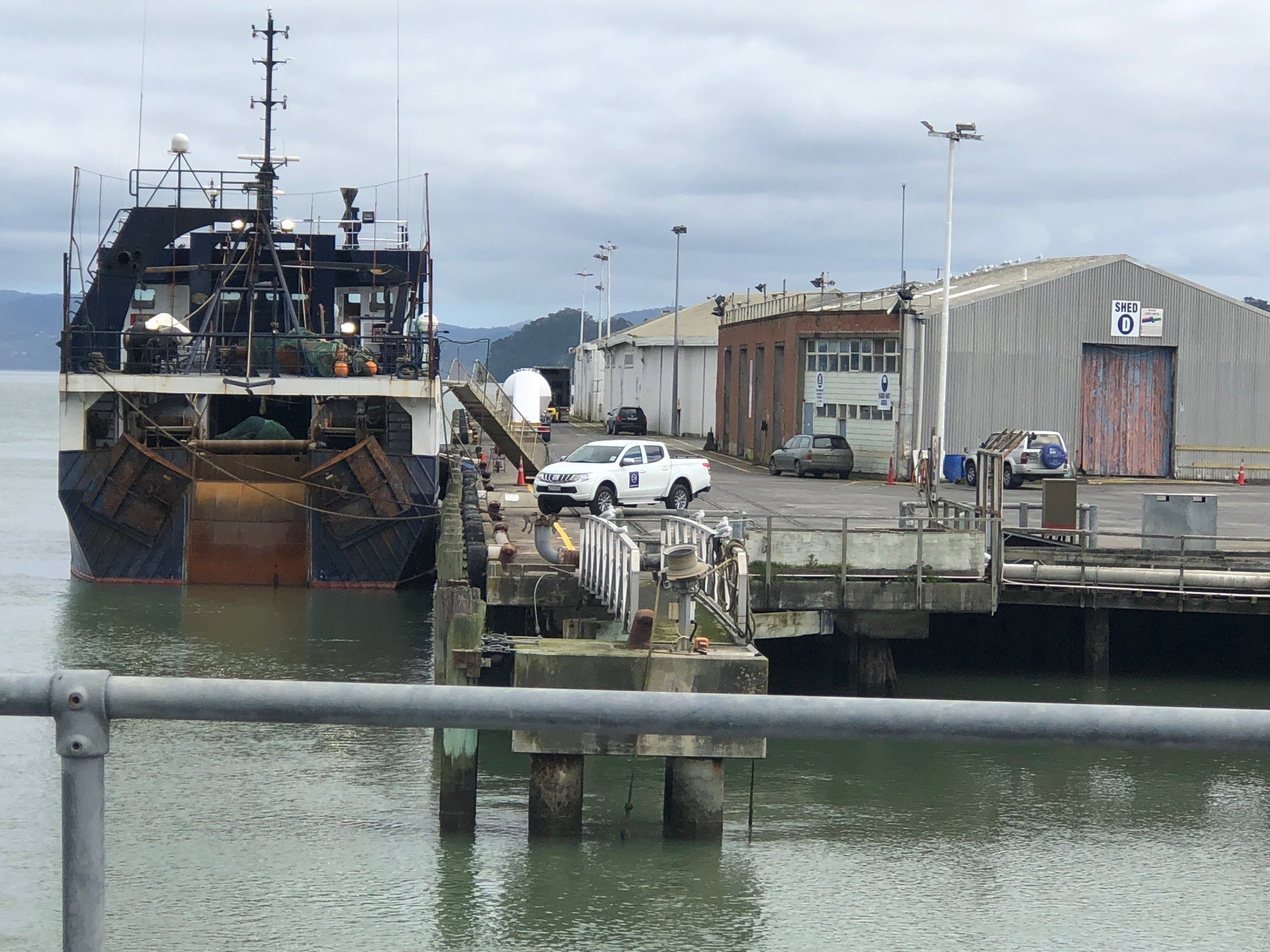 The wharf is the only west coast port in Auckland.