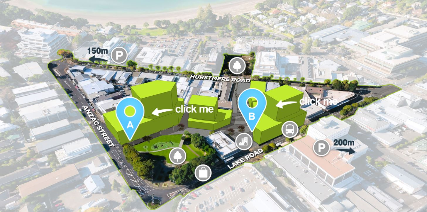 Jasmax used the Pano Tour tool to create an interactive website to communicate Panuku's proposals for a future town square in Takapuna.