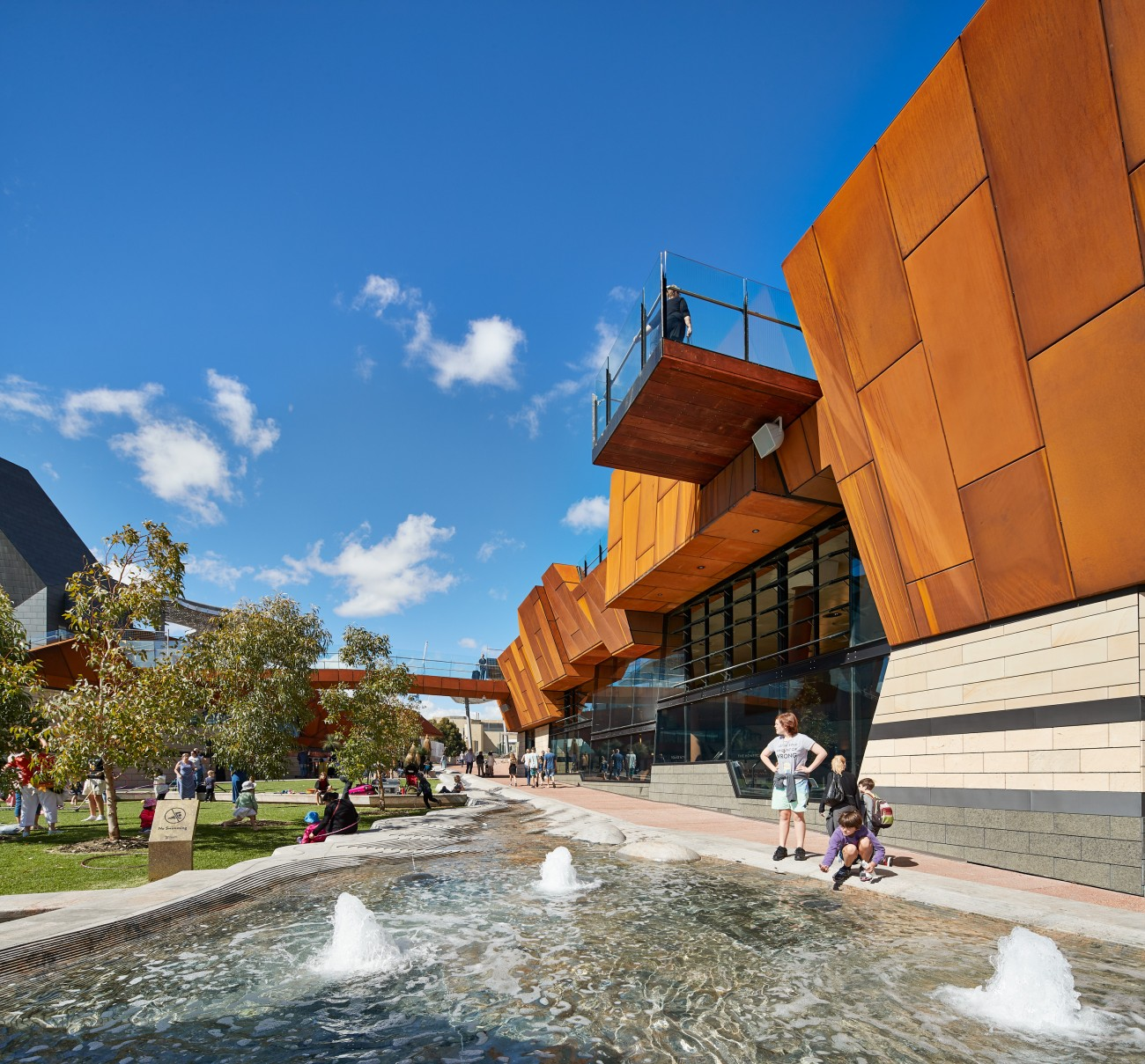 A key feature of Yagan Square in Perth is its 190 metre long water feature.