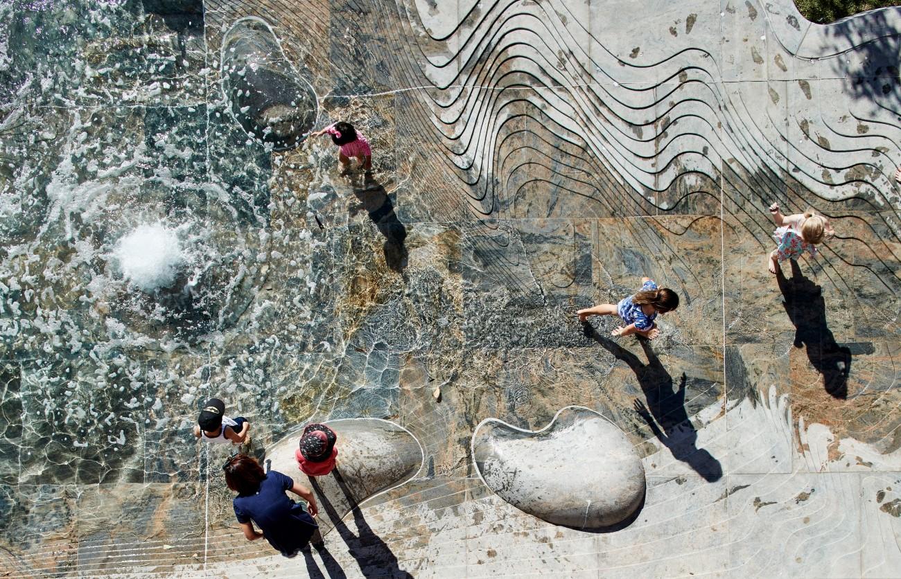 Artist Jon Tarry designed the water feature.