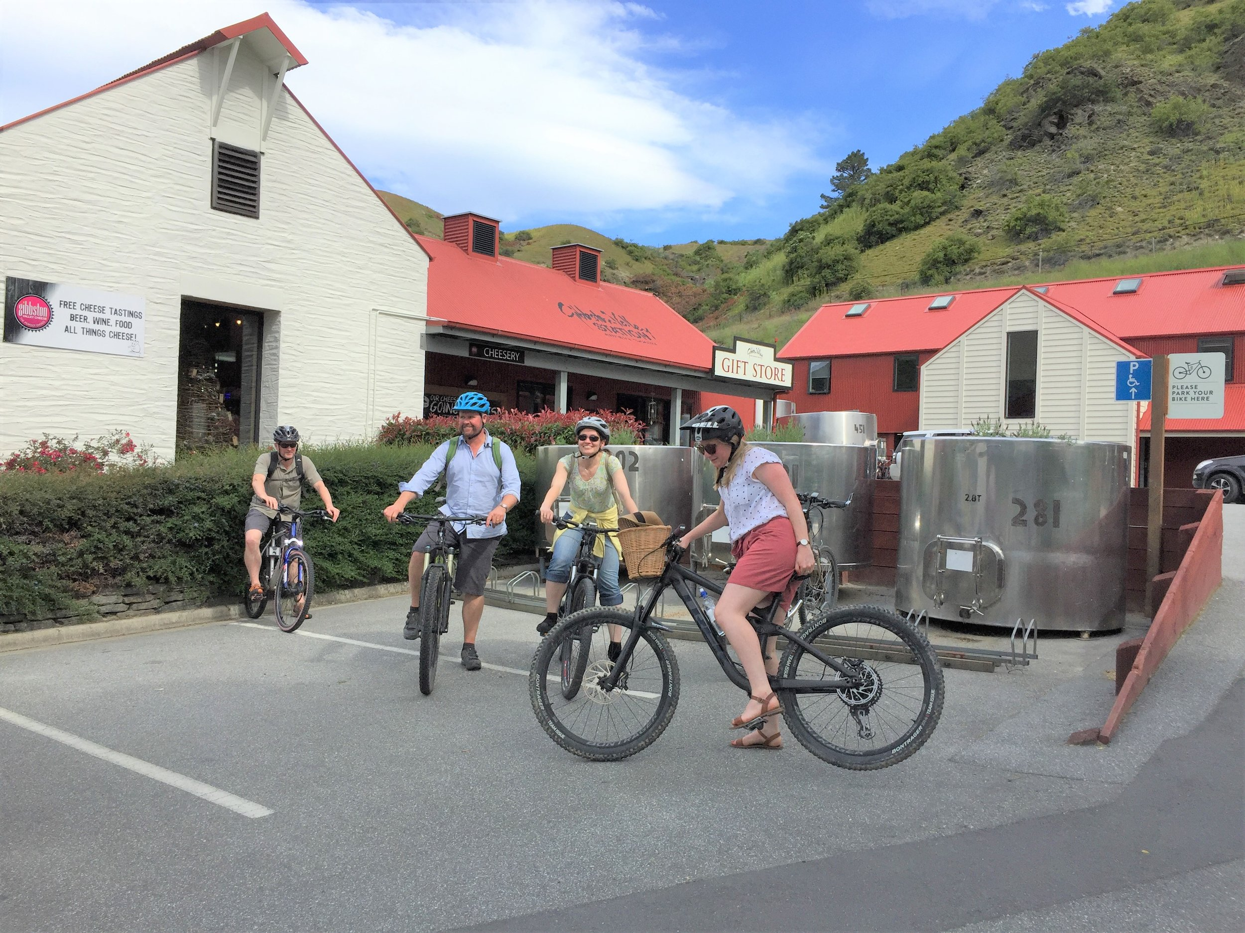 Boffa Miskell's Queenstown office. From left to right - Ralph Henderson (planner), Chris Ferguson (planner), Mathilde Menard (landscape architect) and Megan Ash (landscape architect). This office doesn't just bike to work - they bike at lunchtime, they bike to Friday after-work drinks, they even planned their Christmas Party to be cycle-centric.
