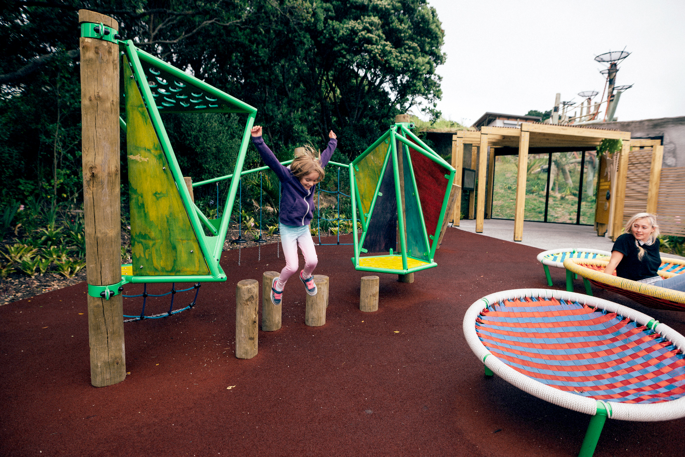 Custom playspace with collaborators Te Mahi mirrors the chimps' environment.