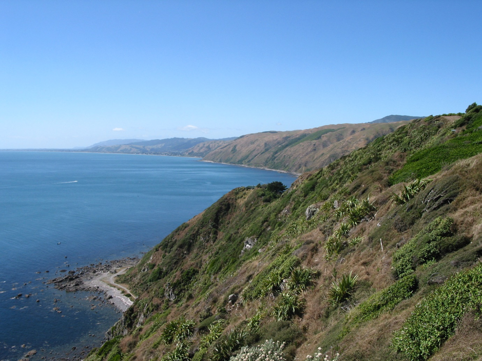 The coastal escarpment north of Wellington. View from above Pukerua Bay up the Kapiti Coast. State Highway 1 clings precariously to the coastal edge.