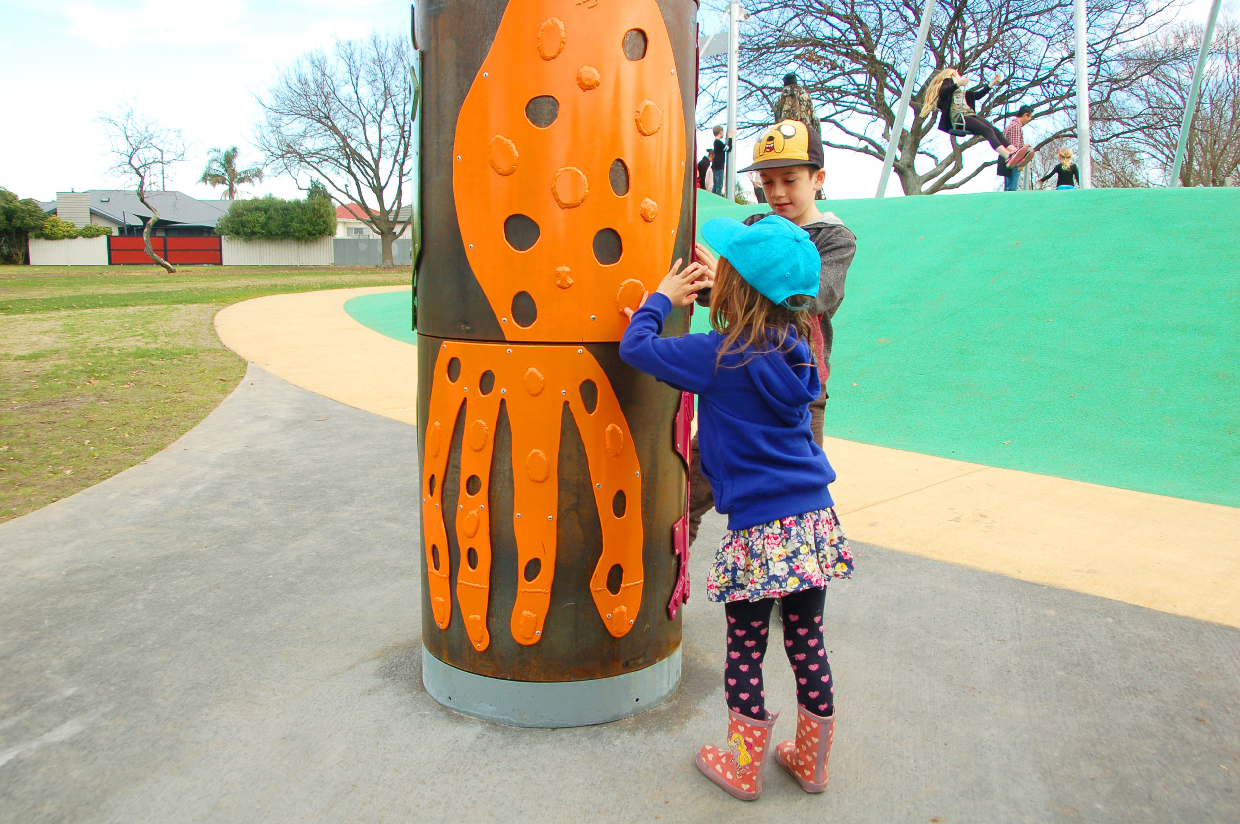 The playground also features functional artwork with messages in braille for the sight-impaired and a range of sensory equipment such as a large xylophone, musical bridge and drums.