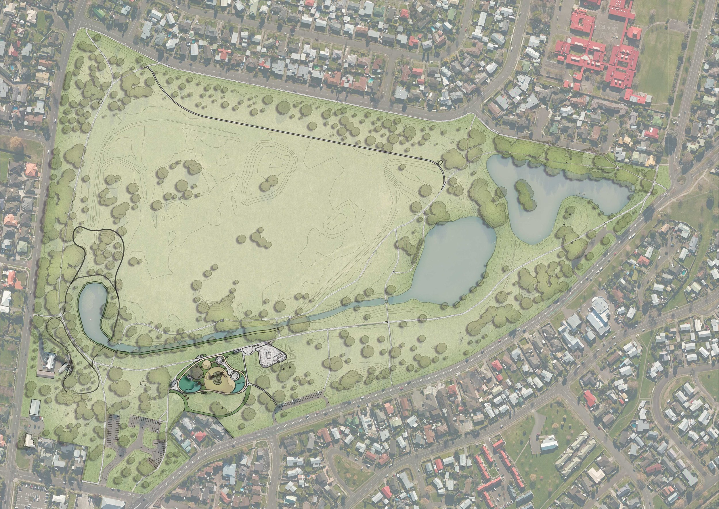 Centrally located within one of Napier's premier suburban parks, Anderson Park Playground has accessible and imaginative features in an inclusive environment that encourages all abilities and ages to play alongside each other. Boffa Miskell was selected to develop a conceptual masterplan for the park and new playground and to proceed through developed design, detailed design and documentation and to act as engineer's representative for the playground during construction.