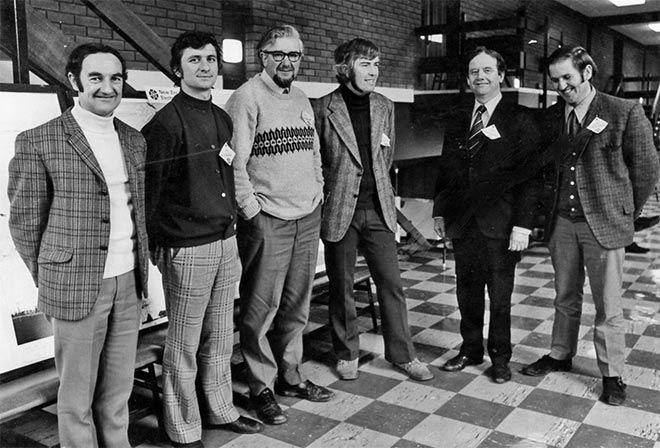 NZILA's 1974 Executive Committee. Chairman Tony Jackman who wrote this editorial, is third from the right.