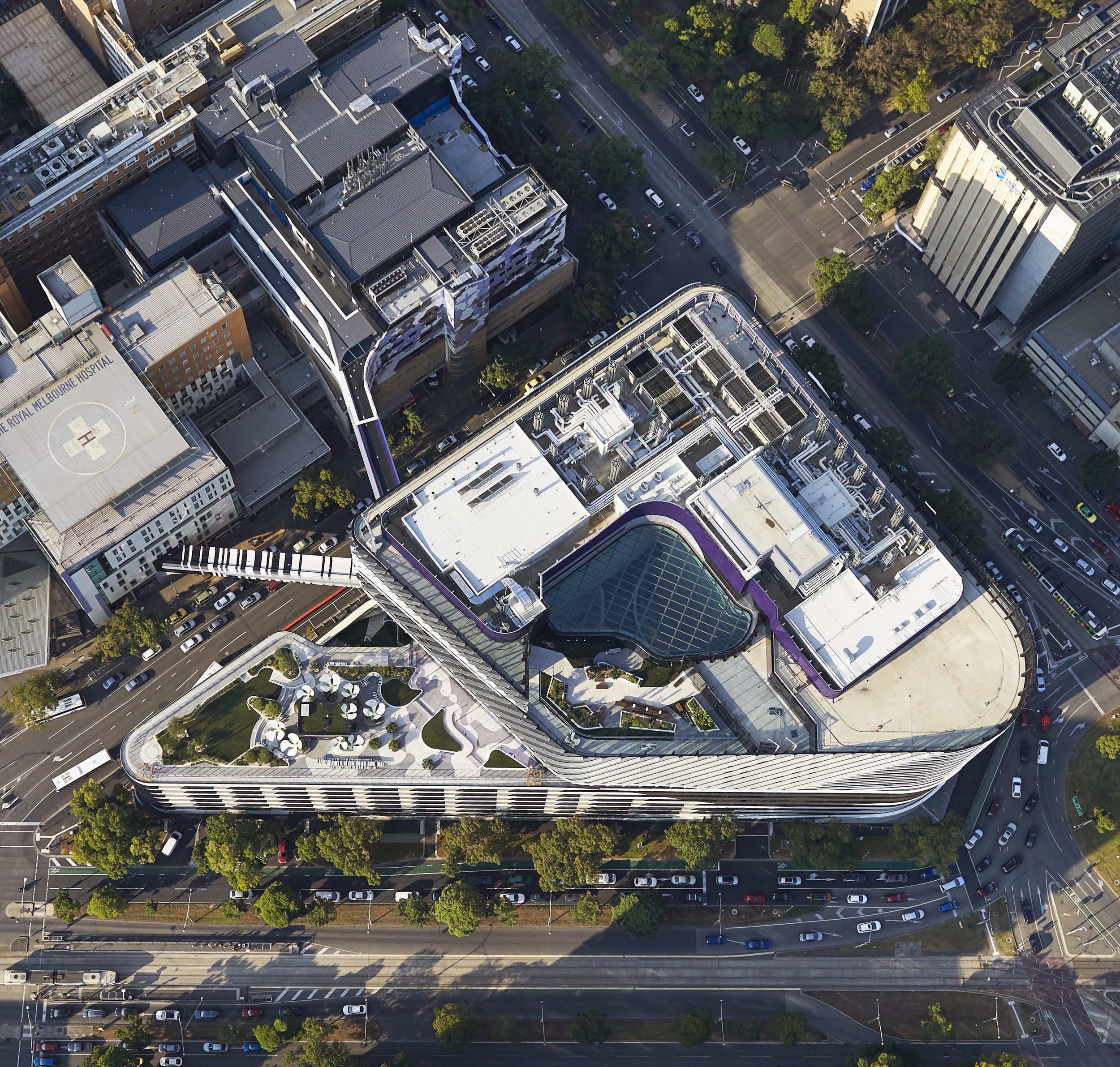 Overview of the VCCC showing the external terraces on Level 7 and 12, and the central atrium space. Photo credit: Peter Bennett