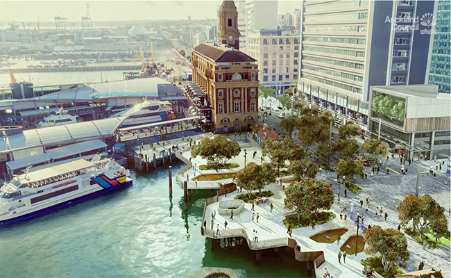 New Downtown Public Space in the Ferry Basin area between Princes and Queens Wharf. Image credit - Auckland Council.