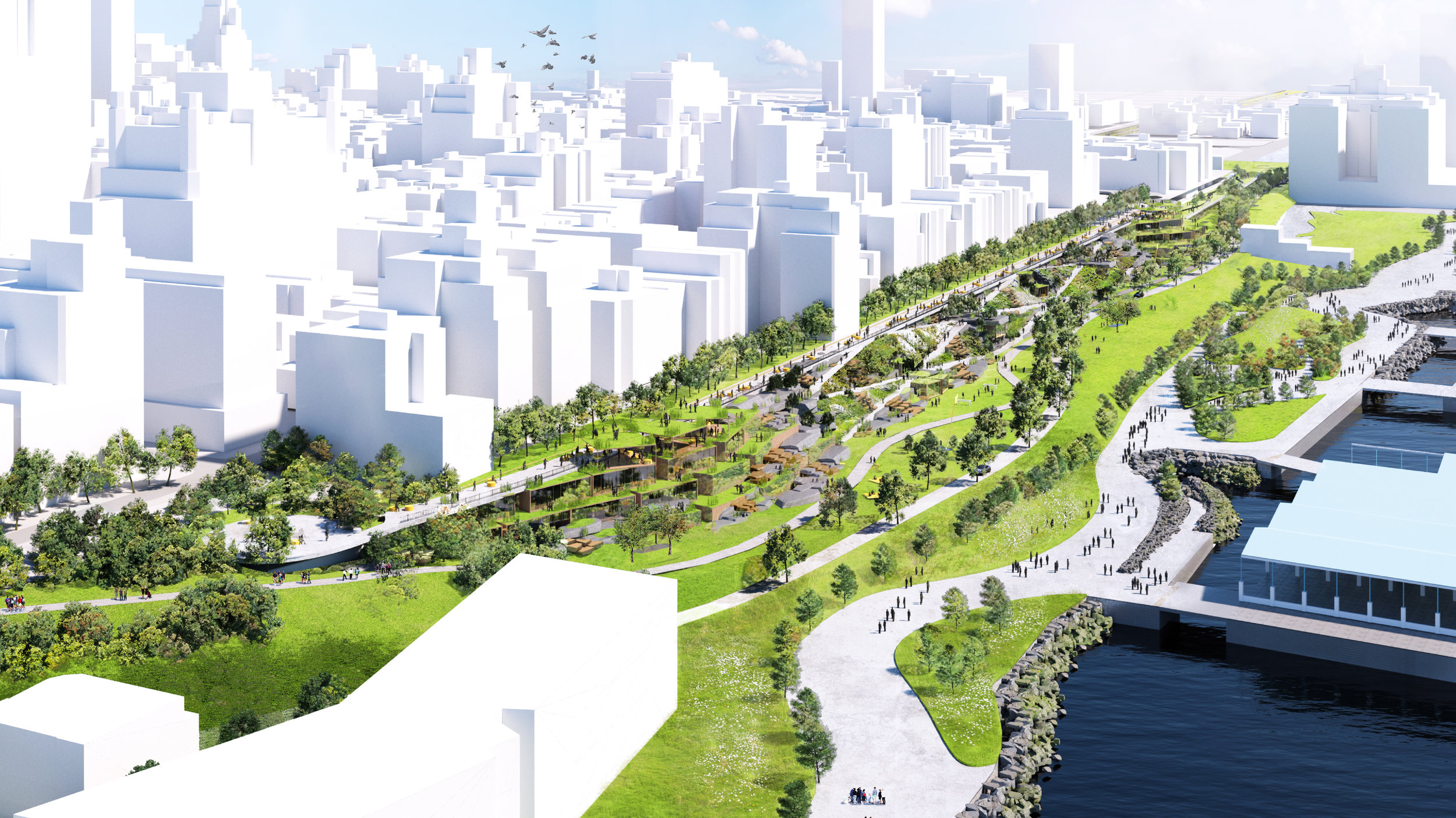 The release of the proposal came as the New York mayor announced plans to form an expert panel to look at replacing the Brooklyn Queens Expressway. Image credit - (BIG) Bjarke Ingels Group.