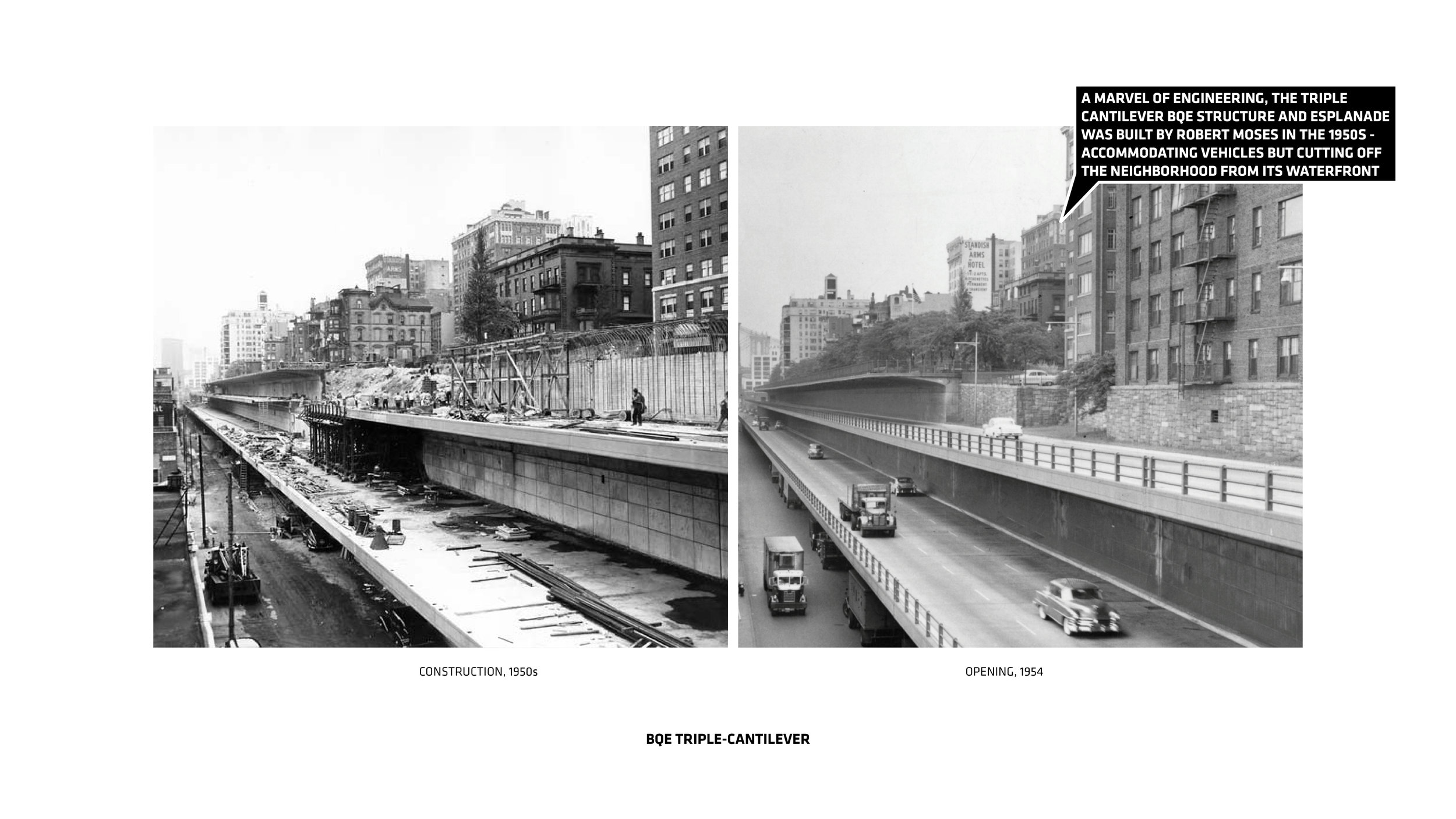 The Brooklyn Queens Expressway was built in the 1950s. Image credit - (BIG) Bjarke Ingels Group.
