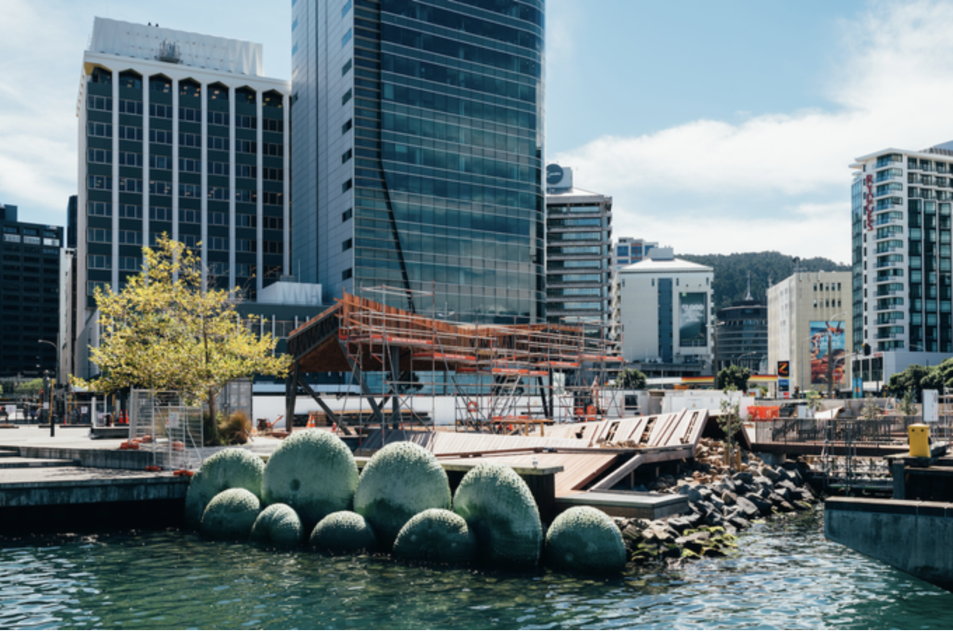 """""""A beautiful level of craftsmanship and detail with an underlying Pacific feel. The form and scale of the building wraps and envelopes you providing a wonderful communal aspect with the large tables at the threshold of the land and sea. Crafted urban infrastructure."""" Best Awards citation"""