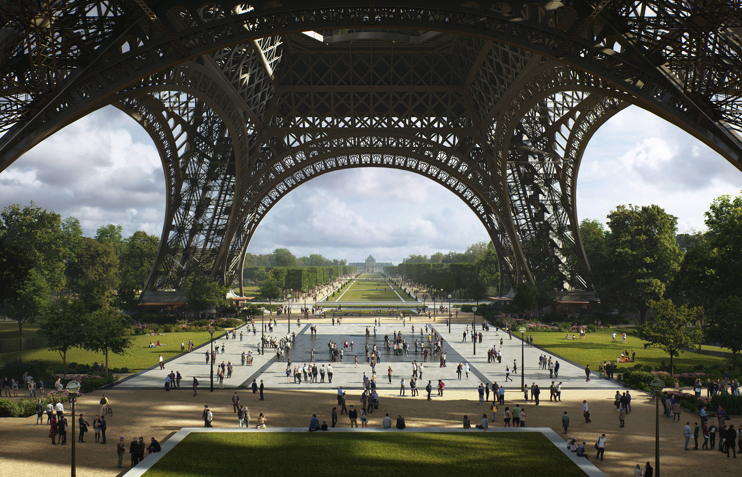 The Eiffel Tower will be surrounded by a giant new park. © MIR for GP+B