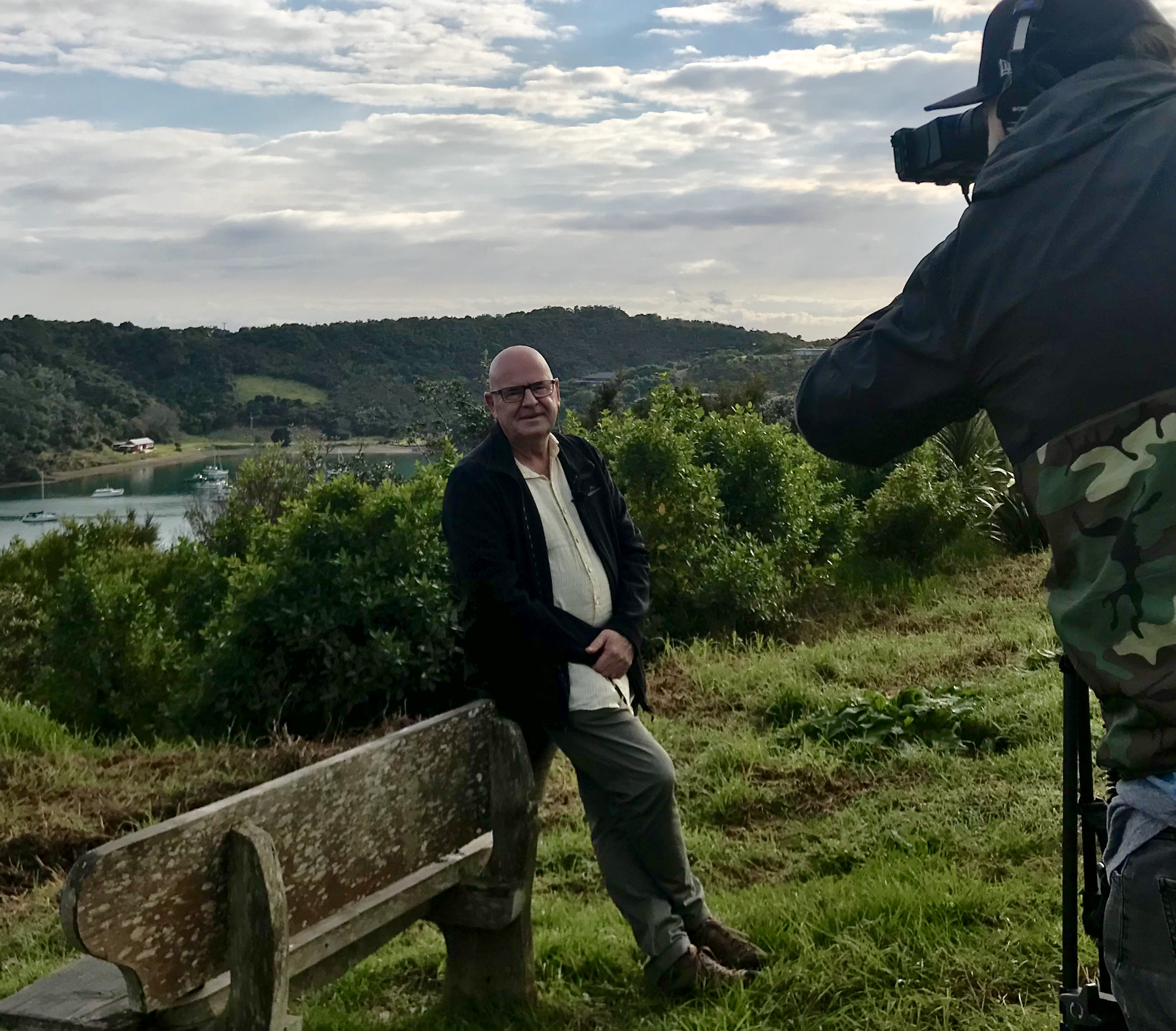 Dennis Scott on one of his many trips to Waiheke Island for our filming last year.