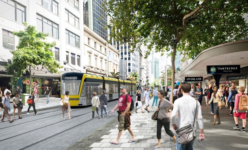 How light rail in Auckland's Queen St could look.