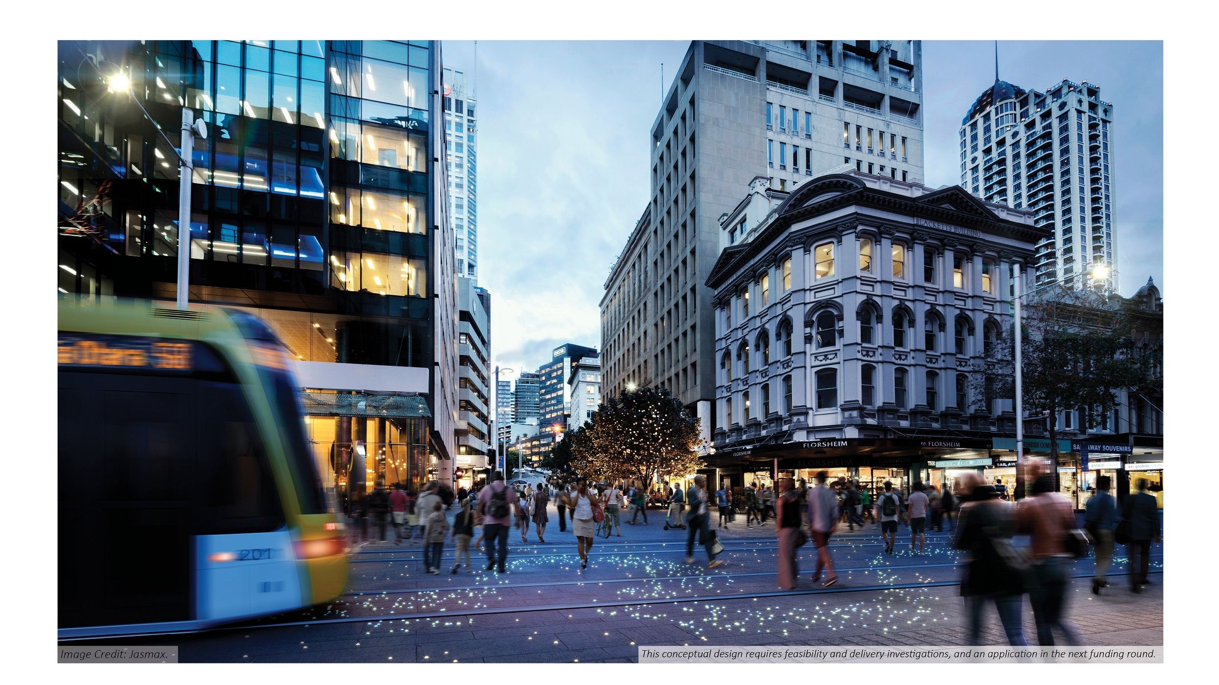 In the future Queen St and adjoining streets like Shortland St, will be further pedestrianised. Image credit: Jasmax