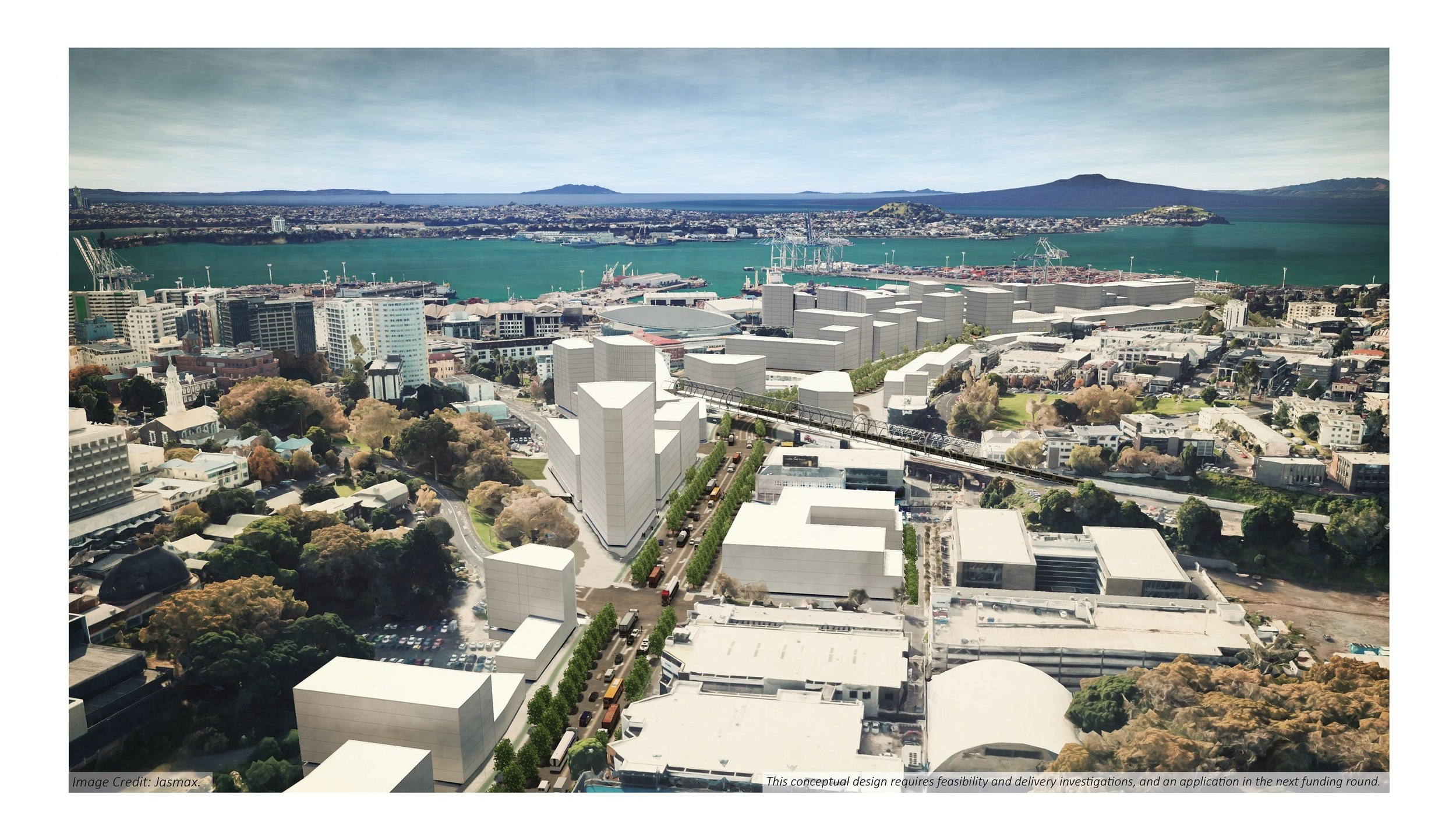 Concept design - aerial view of regenerated lower Grafton Boulevard. Image credit: Jasmax