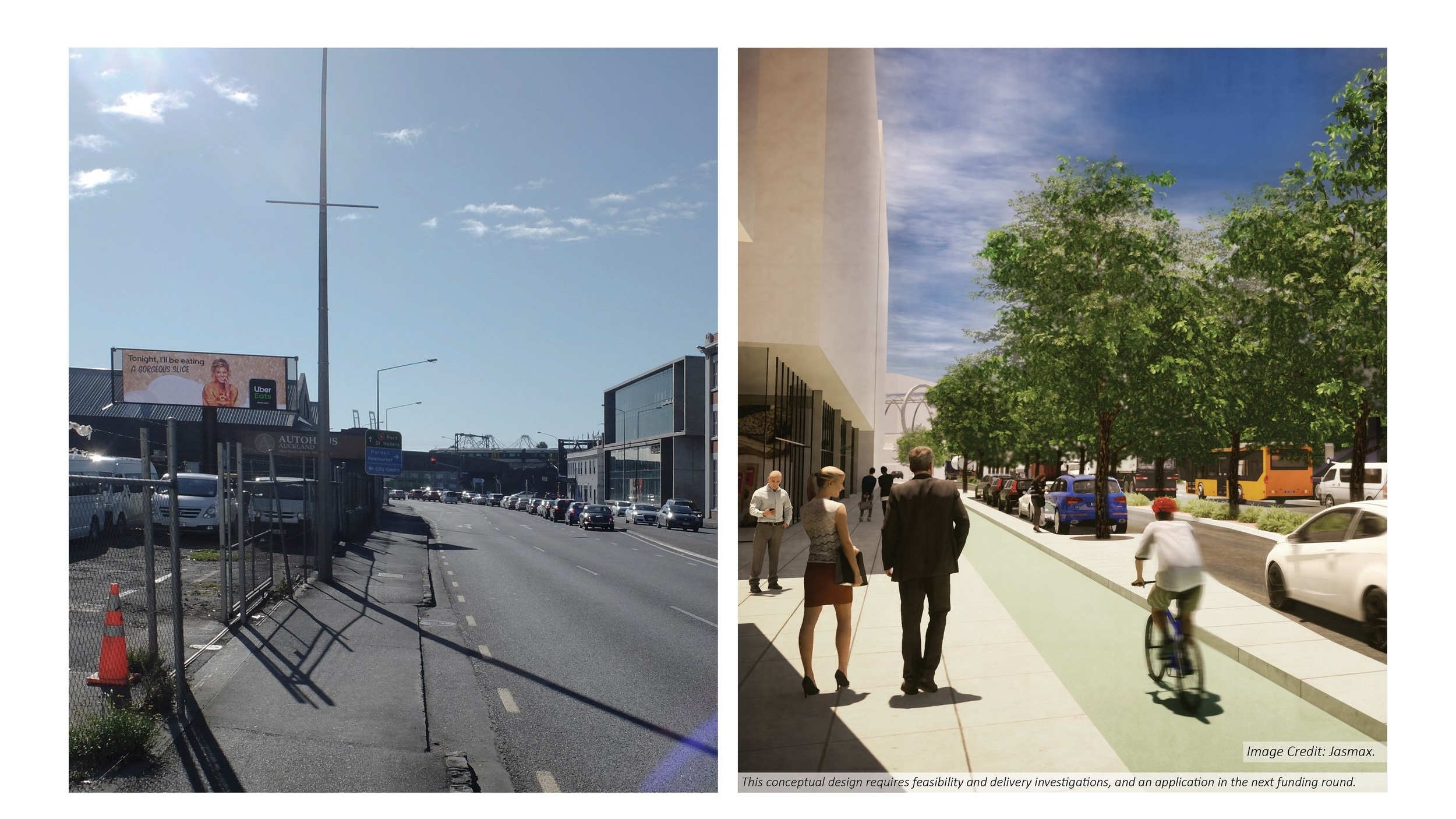 Concept design - before and after view of Grafton area. Urban regeneration could create a new liveable district and unite Parnell with the city centre and waterfront. Image credit: Jasmax