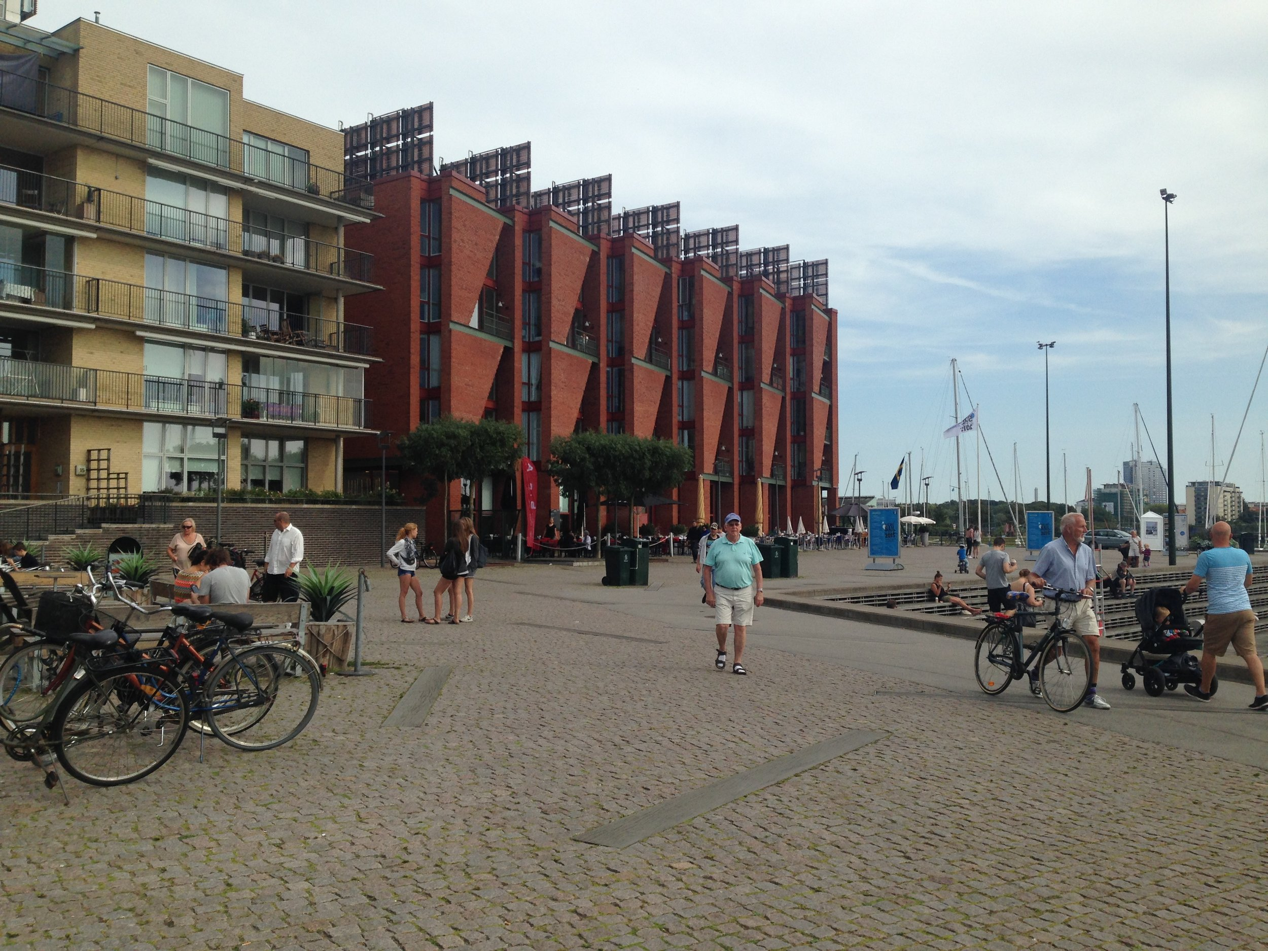 Vibrant pedestrian life in the seaside suburb of Malmo, Sweden.