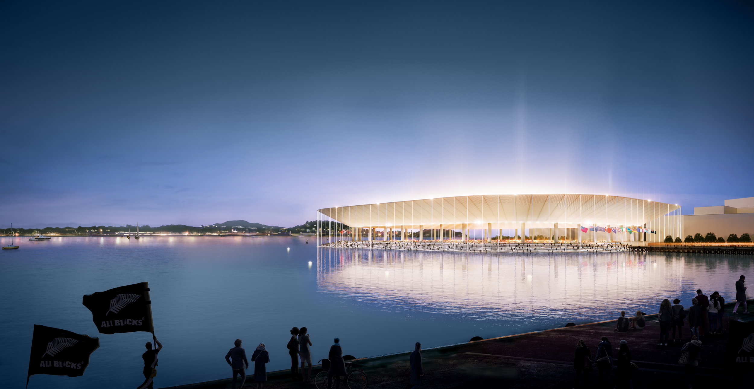The ambitious proposal would see a 50,000-seat fully enclosed stadium built alongside a redeveloped Bledisloe Wharf.