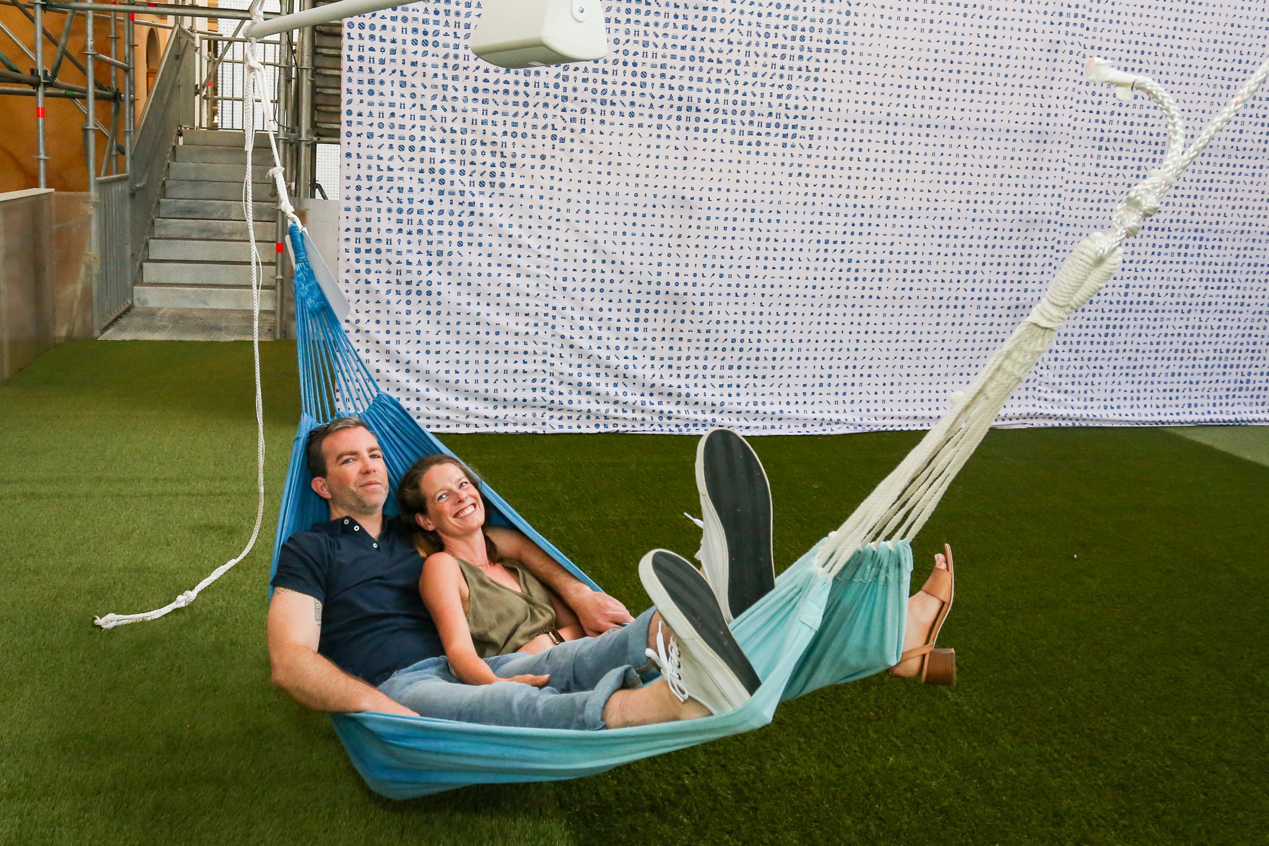 Visitors can listen to the summer memories of well-known Americans while reclining in hammocks.