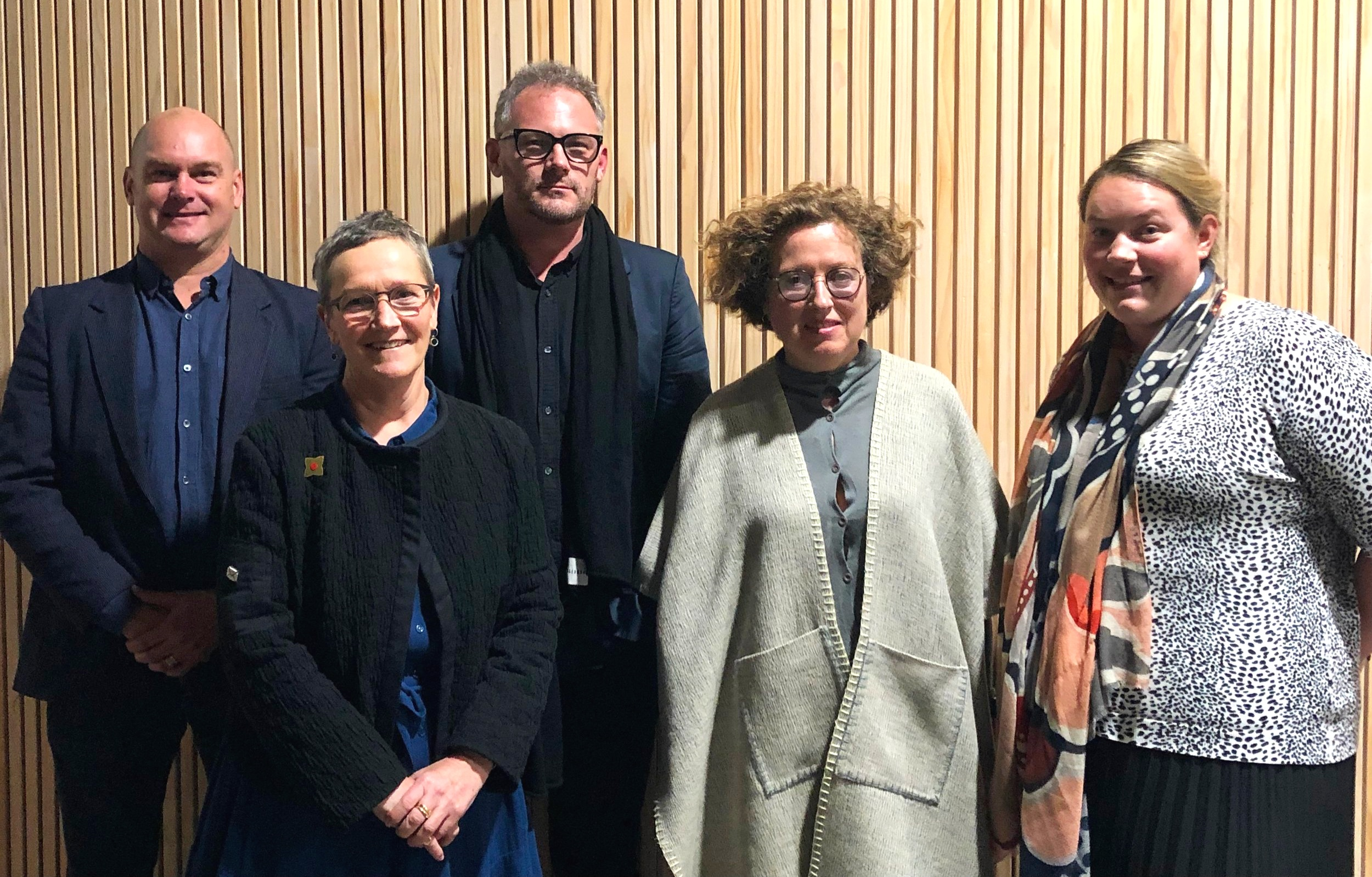 Catherine Mosbach with a team from the NZILA in Auckland last night. From left Brad Coombs, Rachel de Lambert, Henry Crothers, Catherine Mosbach, Julia Wick.