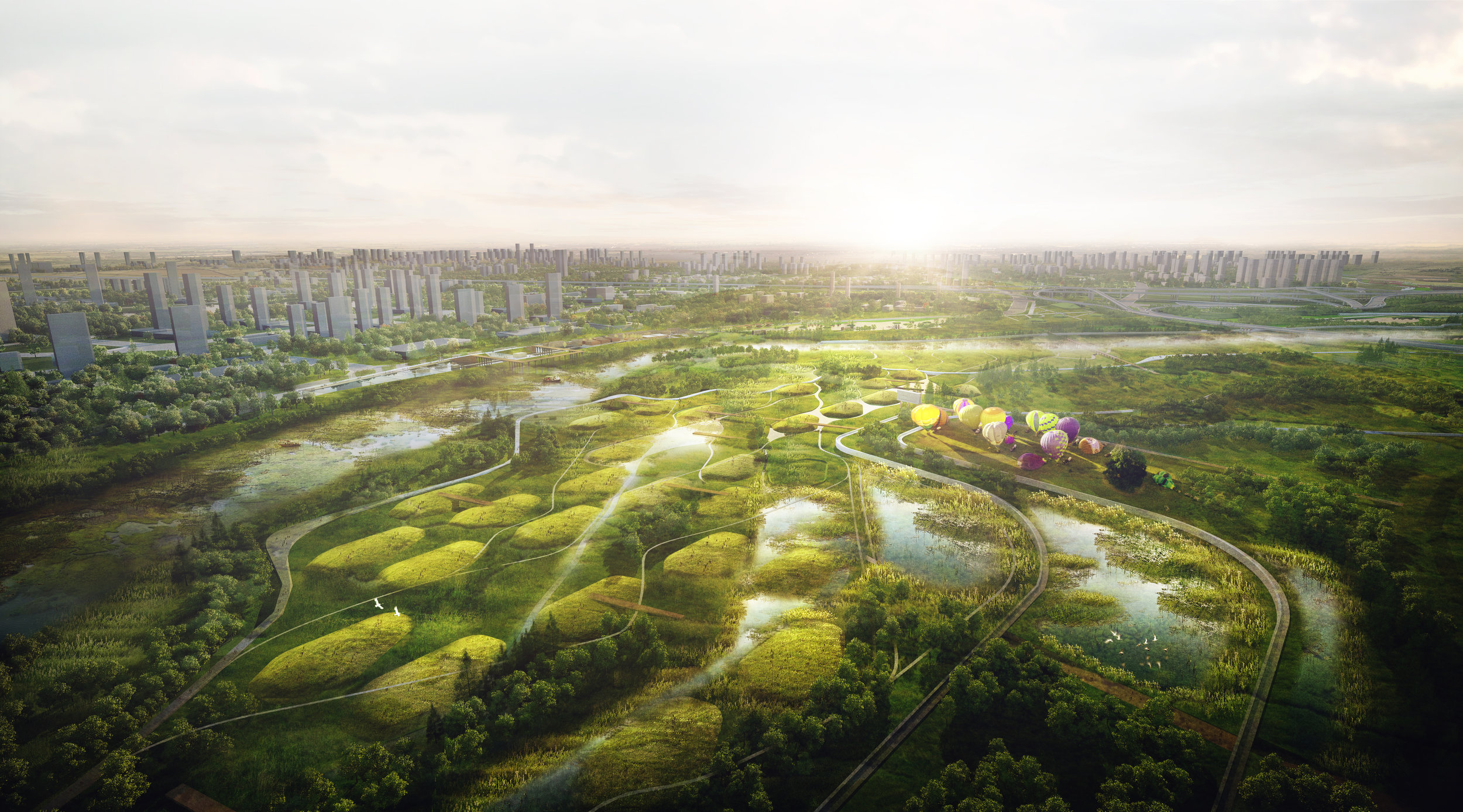Gossamer's design creates an active ecological spine and world class waterfront for greater Xi'an.