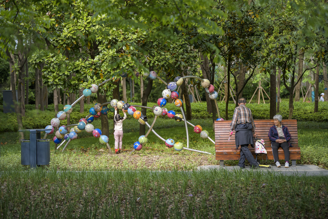 Families can interact with the sculptures