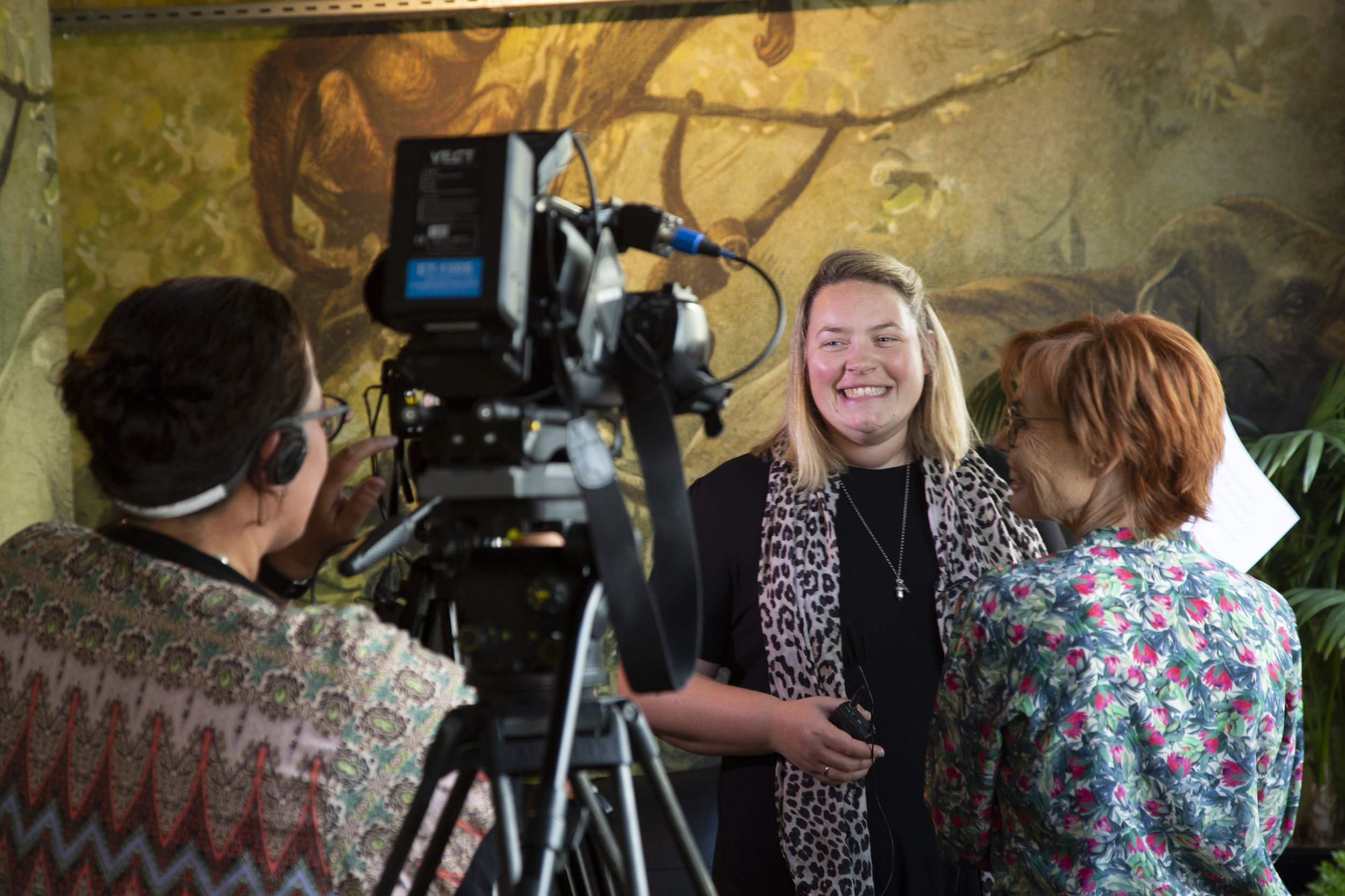 Julia Wick is interviewed by the LAA team at the NZILA President's cocktail function earlier this year.