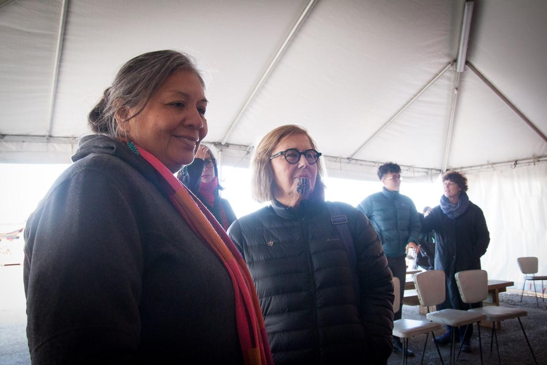 Dr Diane Menzies at the site. Photo credit: Jon Hall & Desna Whaanga-Schollum