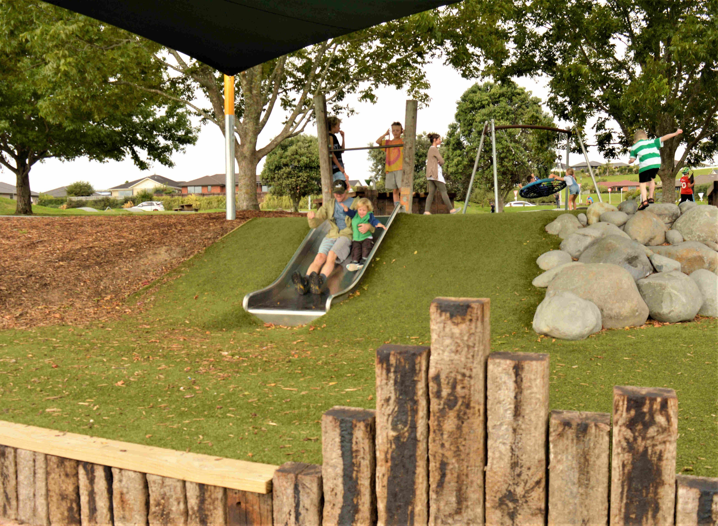 The playground has plenty of options for visitors of all ages.