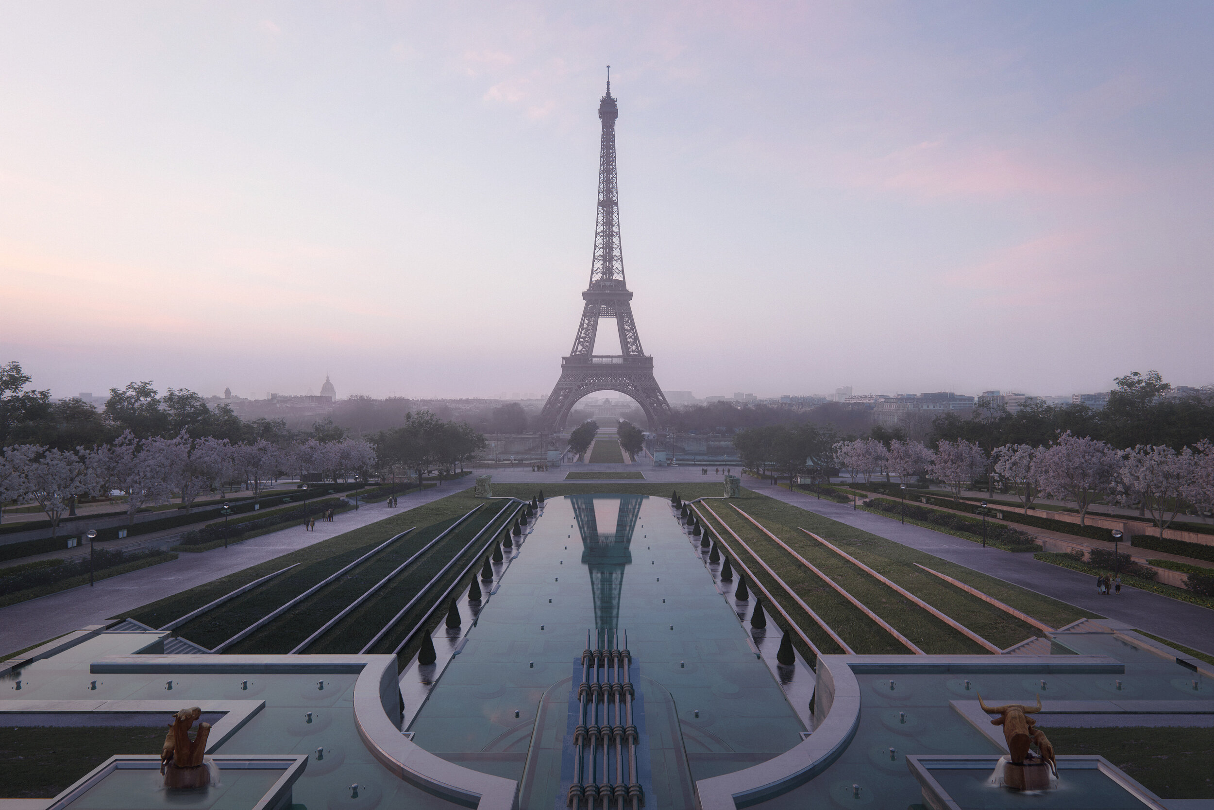 Gustafson Porter + Bowman has won the contract to reimagine the landscape around the Eiffel Tower © MIR for GP+B