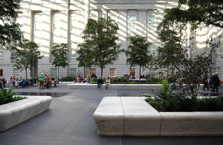 Kathryn Gustafson designed the Kogod Courtyard at the National Historic Landmark building in Washington DC. Photo credit: GGN