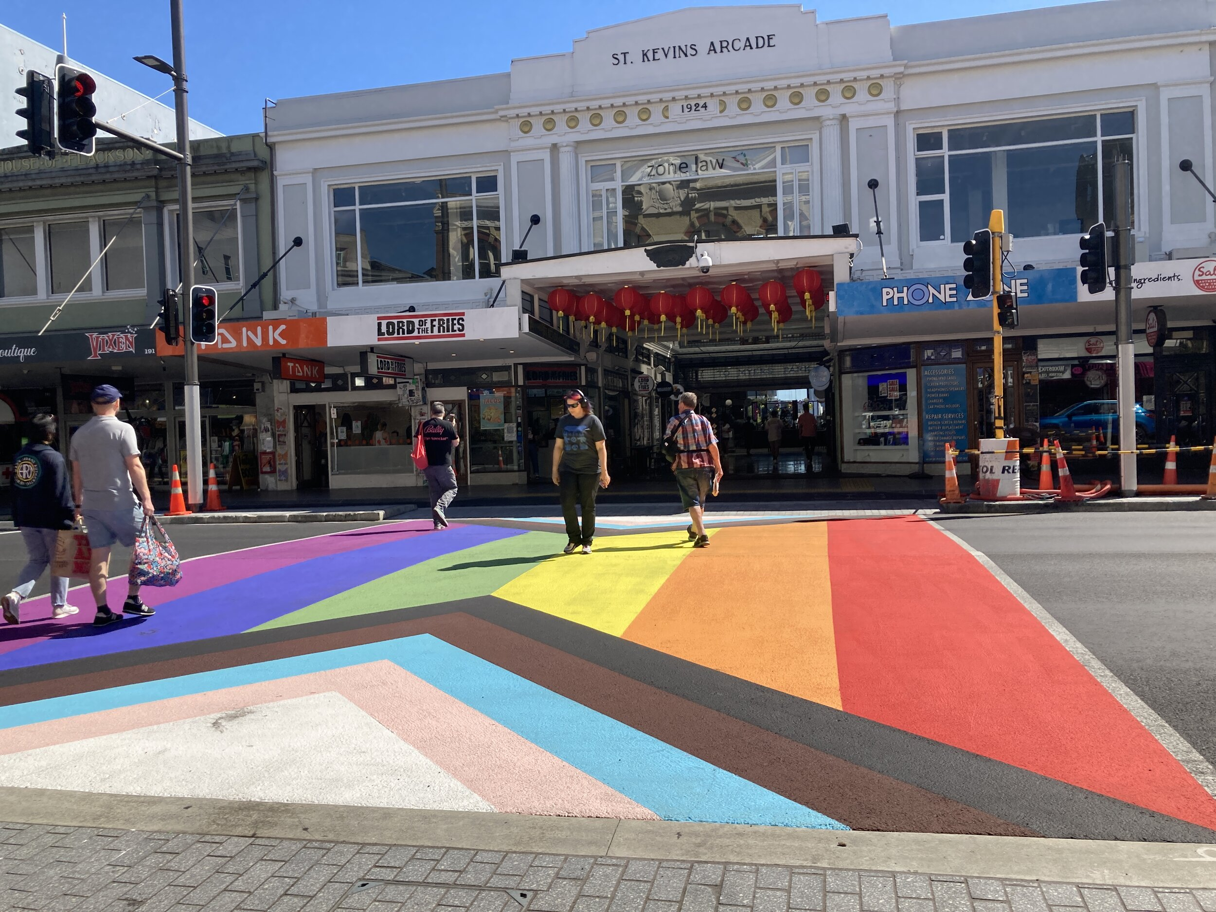The rainbow crossing on Auckland's Karangahape Road.
