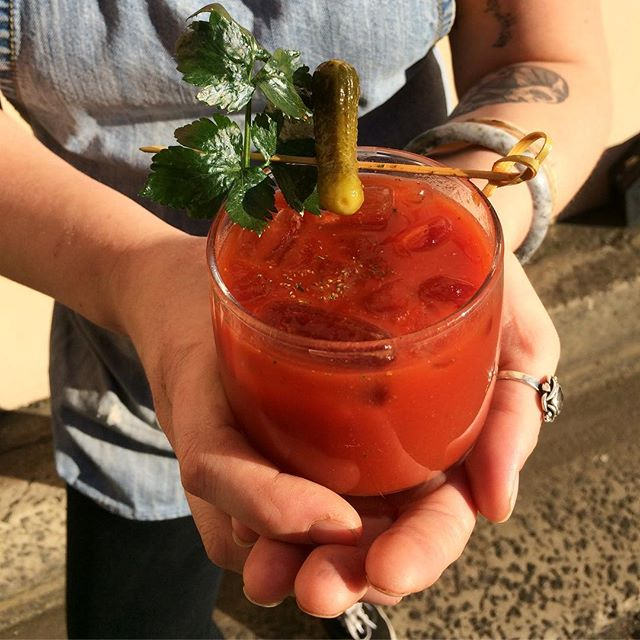 🍹warmer weather has dreaming of spring + all day brunches in NYC 🗽 Introducing the El Teesho !  tomato juice, smokey paprika, celery salt, lemon, smokey Tabasco + pickle juice ✨ it's BYO vodka + bloody tasty either way . . . #heretilitsgone #orwedrinkitall #justanotherlanewayshot #alldaybrunch #alldaymenu #alldaybreakfast #wollongongeats #wollongongfoodie #lowereastcafe
