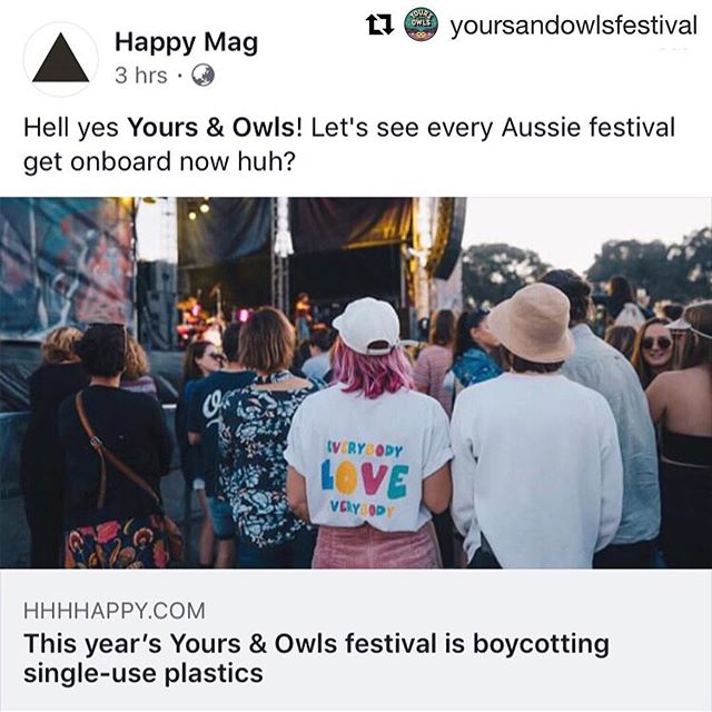 💚 plastic free July may be over, but these local legends from @yoursandowlsfestival have announced their festival will be single use plastic free 🌏 👏🏽 in a week where a big business like Coles has backflipped on their plastic bag decision🙅🏻‍♀️we need more people with conviction + a conscious, like @yoursandowls + so many of our customers who continue to fight the good fight + make the right decisions for our planet 🌏 we've got beautiful @sopharris reusable cups alongside our @keepcup + @greencaffeen kicks off tomorrow (check it out if you haven't yet!!) ... we can do this 💪🏽 #Repost @yoursandowlsfestival with @get_repost ・・・ Huge response to our single use plastic free initiative today. We love all you lil eco warriors with all our green heart 💚  Head to our Facebook page to find out how you can score a chance help us plant some trees at Puckeys Estate and WIN yourself a FREE ticket to this year's SOLD OUT festival #winnerwinnersustainabledinner