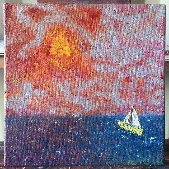 "Sailboat - oil on linen 12""x12"" ( ) ( ) #art #sfart #sfartist #artwork #artist #painting #paint #oilpainting #gallerypainting #laart #nycart #brooklynart #londonart #losangelesart #painter #artcollector #artcurator #contemporaryart #modernart #abstractart #fineart #arte #paintingoftheday #abstractexpressionism #process #artstudio #artmarketsf #hunterspoint #sanfrancisco"