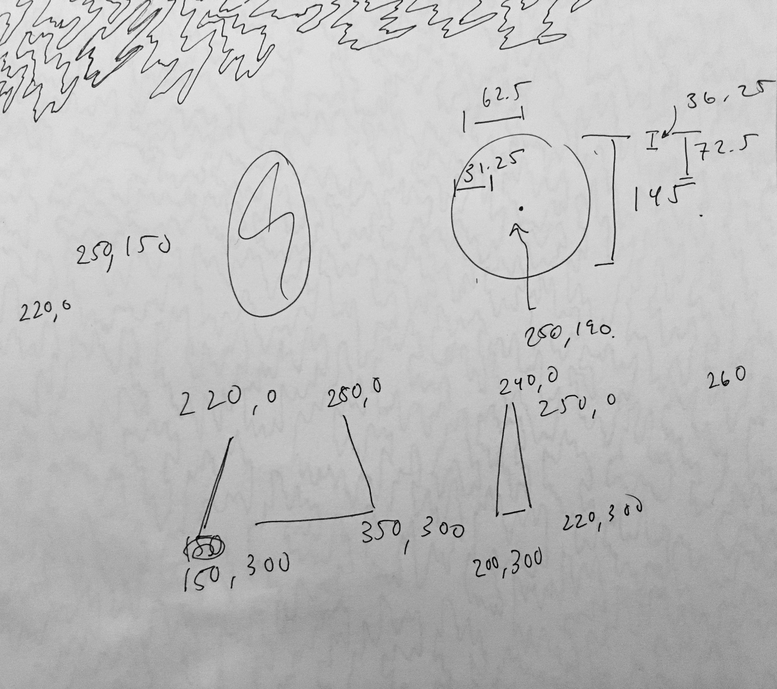 Random numbers and pictures that I jotted down while creating the sketch.