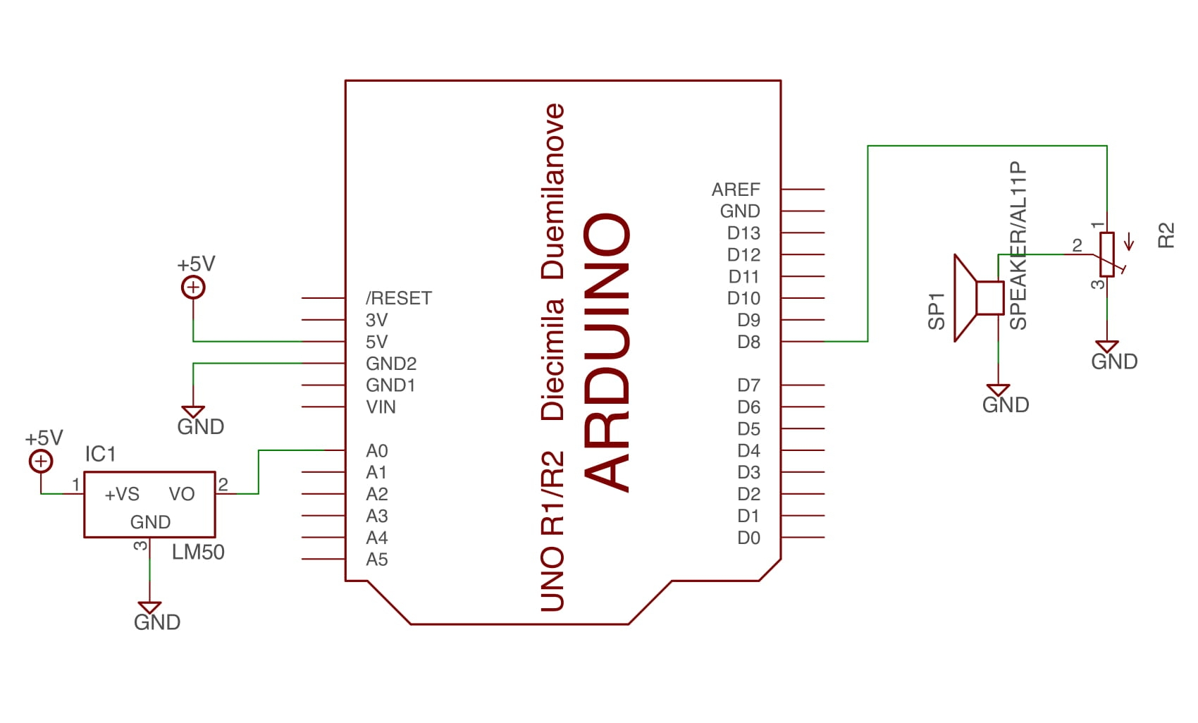 Schematic for simple circuit. Note that the temperature sensor used was a TMP36, not an LM50, but that was all that I could find that was remotely similar to the TMP36 in the Eagle library.