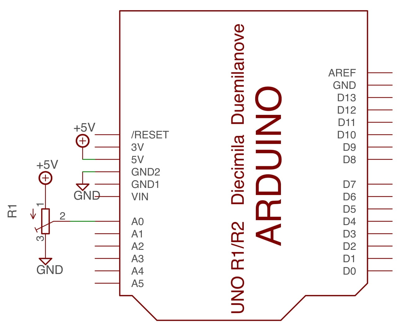 Schematic for simple circuit using a potentiometer to control a p5.js sketch.