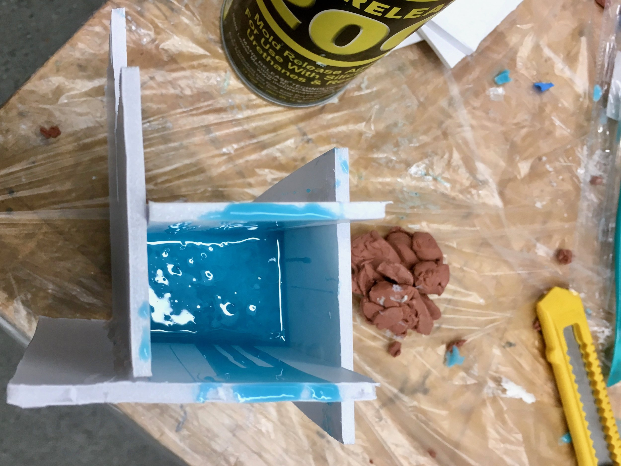 Silicone poured for one part mold.